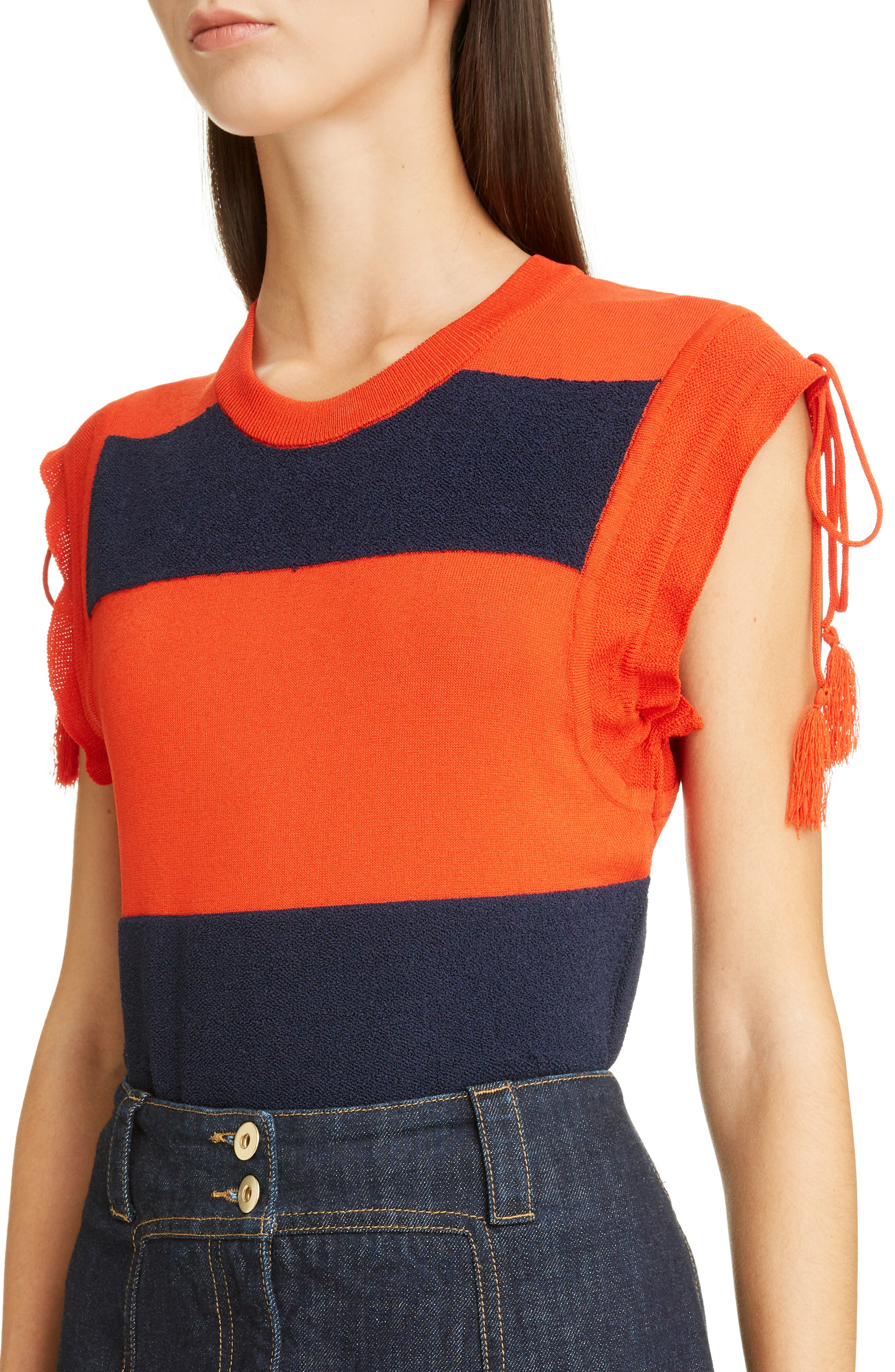Tassel Detail Rugby Stripe Top,                             Alternate thumbnail 4, color,                             601