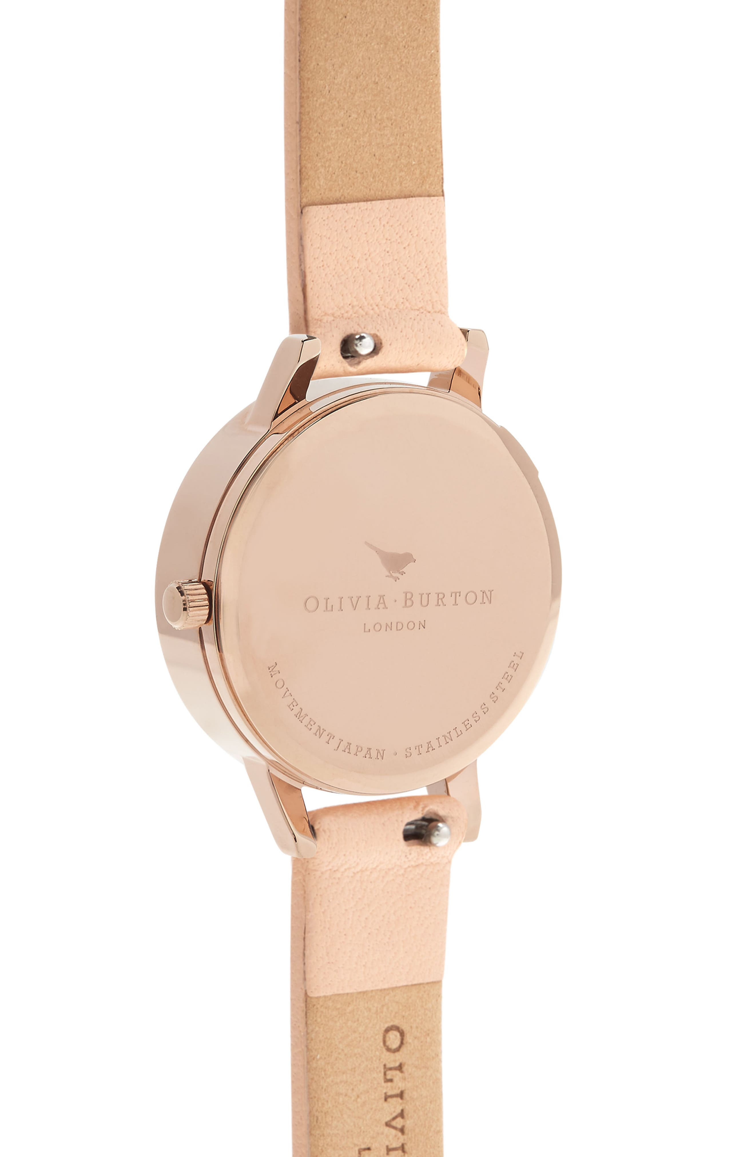 Glasshouse Leather Strap Watch, 30mm,                             Alternate thumbnail 2, color,                             NUDE PEACH/ BEE/ ROSE GOLD
