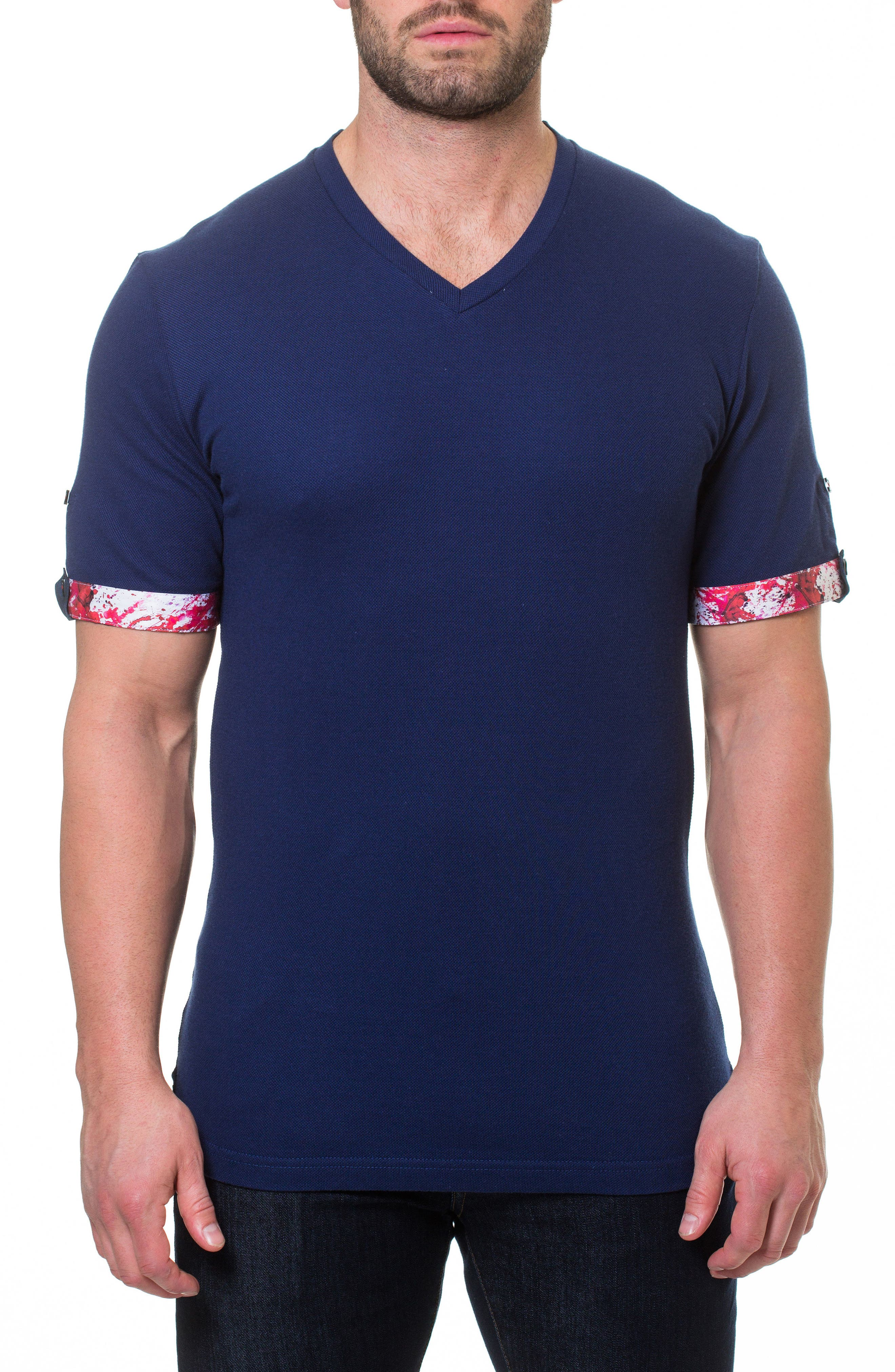 Short Sleeve V-Neck Piqué T-Shirt,                         Main,                         color, BLUE