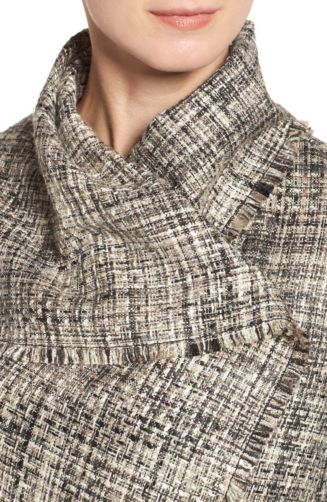 ANNE KLEIN,                             Mixed Media Drape Front Jacket,                             Alternate thumbnail 5, color,                             001