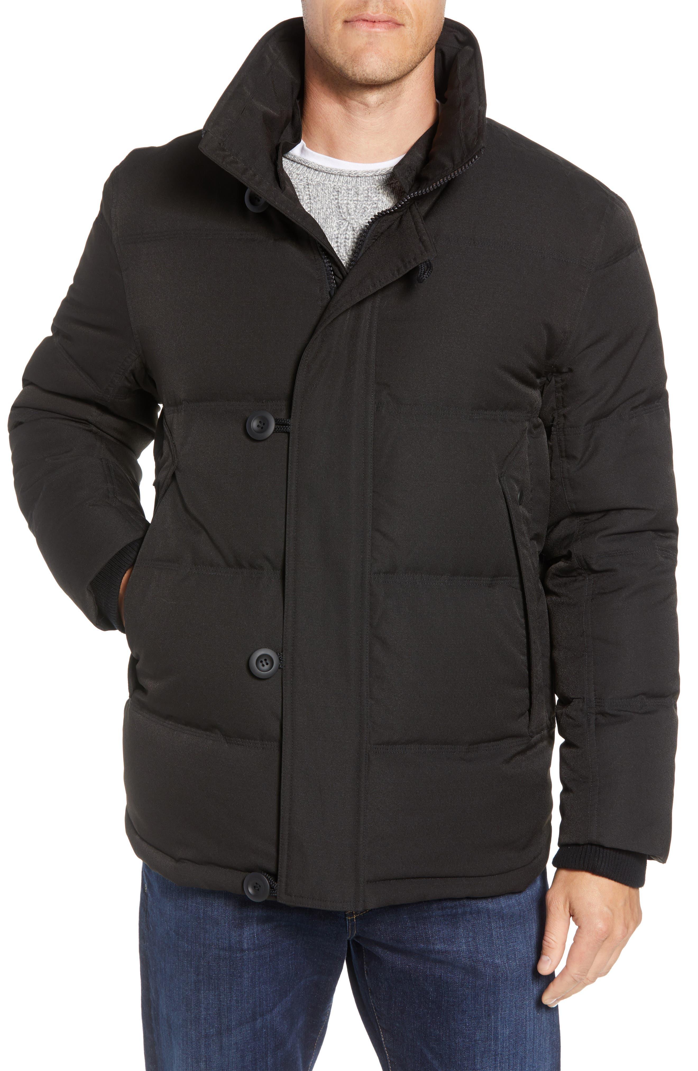 Bryant Genuine Rabbit Fur Trim Down Jacket,                             Alternate thumbnail 2, color,                             BLACK