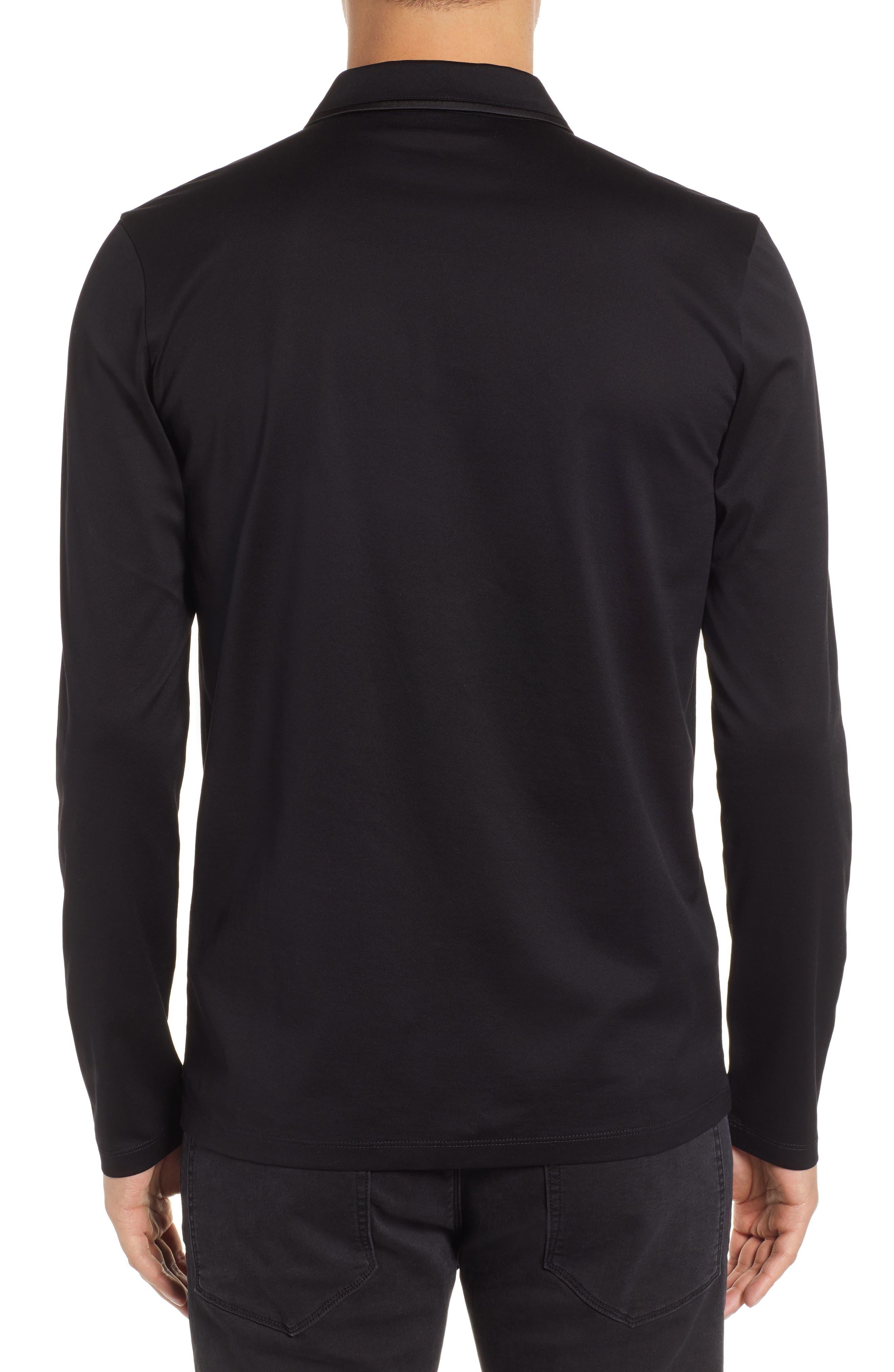 Dalendar Mercerized Cotton Slim Fit Polo Shirt,                             Alternate thumbnail 2, color,                             BLACK