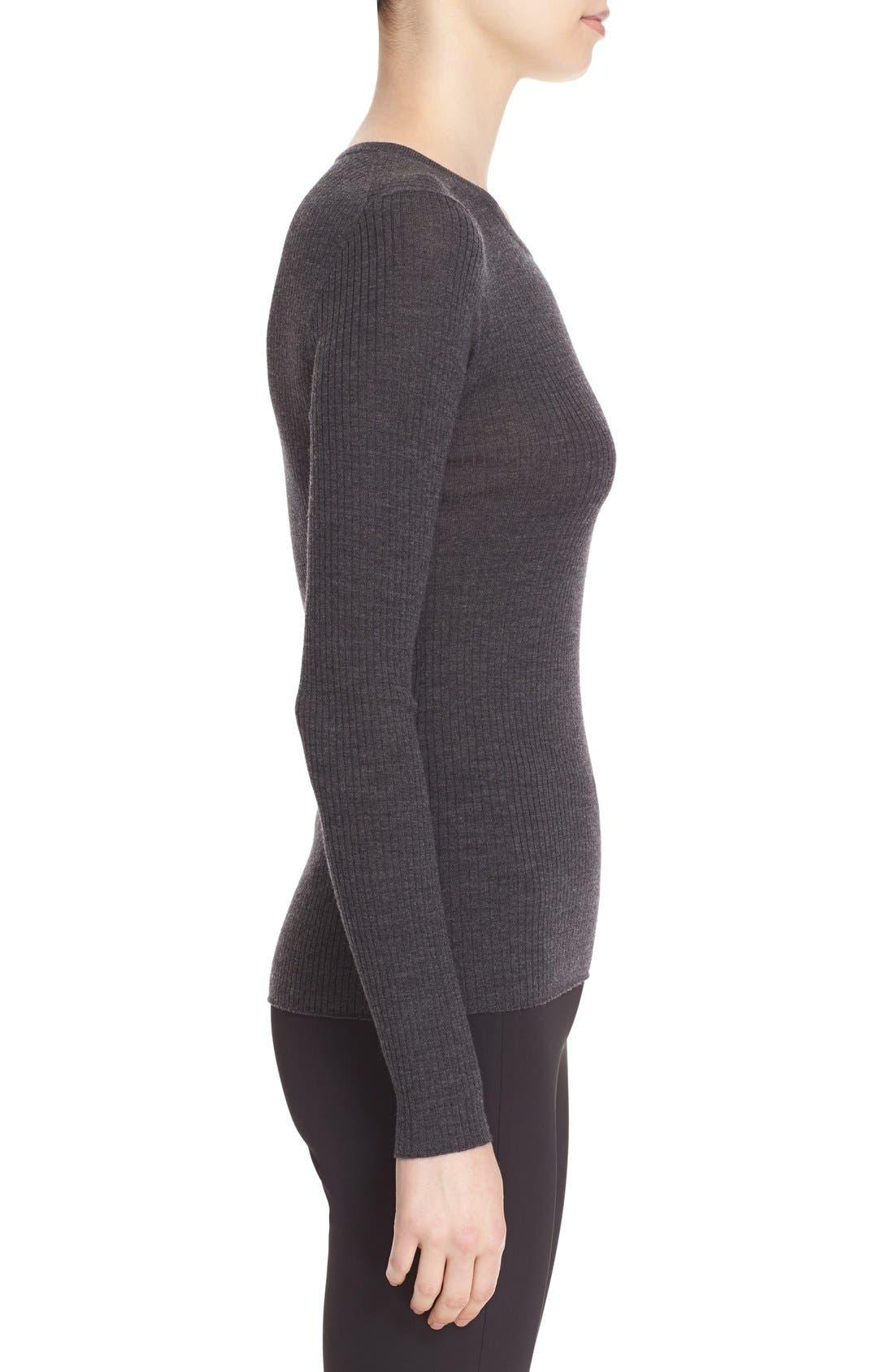 'Mirzi' Rib Knit Merino Wool Sweater,                             Alternate thumbnail 3, color,                             CHARCOAL MELANGE