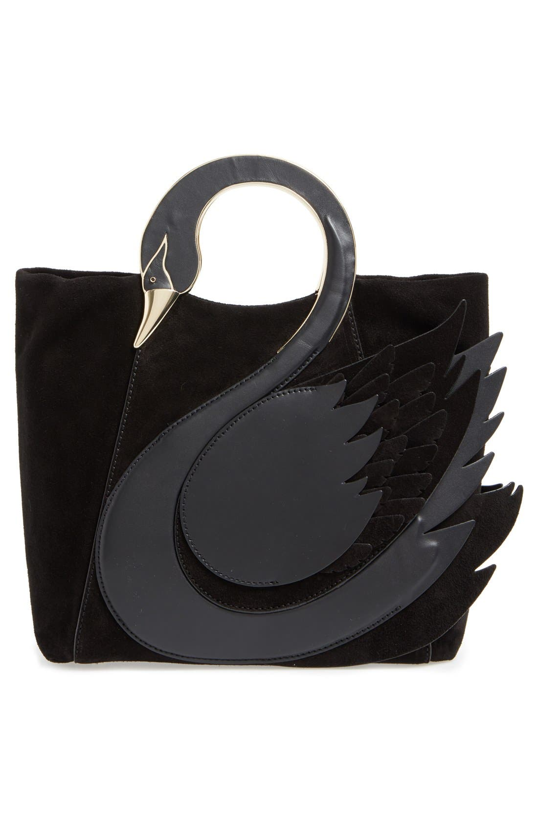 'on pointe - swan' suede & leather handbag,                             Alternate thumbnail 5, color,                             001