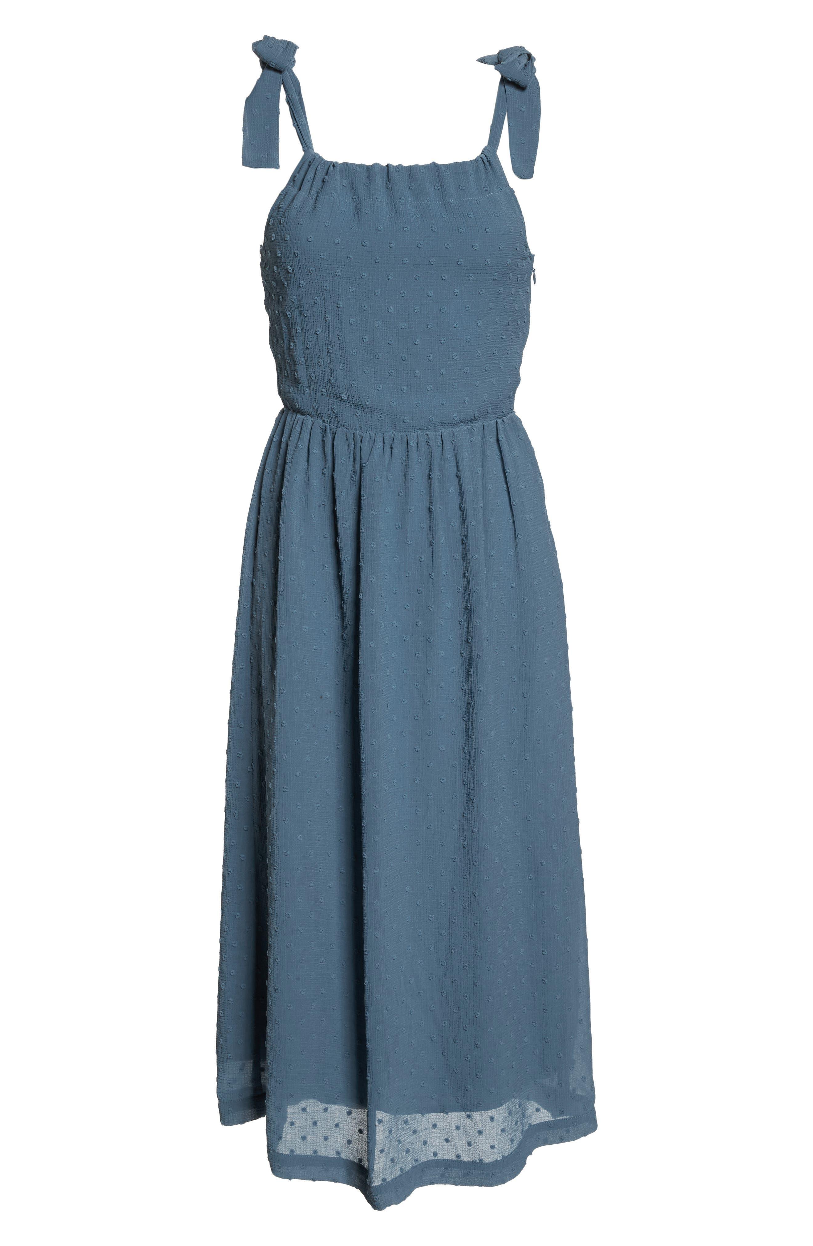 Tie Shoulder Midi Dress,                             Alternate thumbnail 8, color,                             400