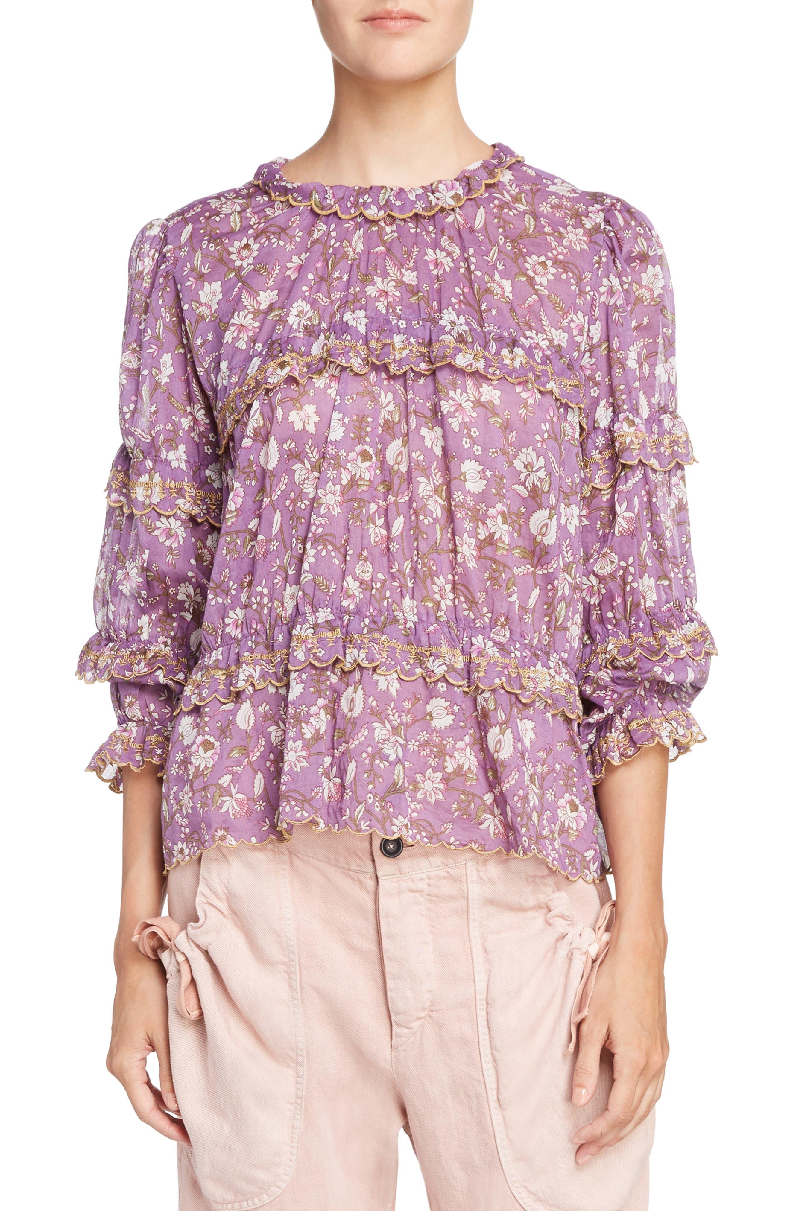 Isabel Marant Étoile Moxley Print Cotton Top,                         Main,                         color,