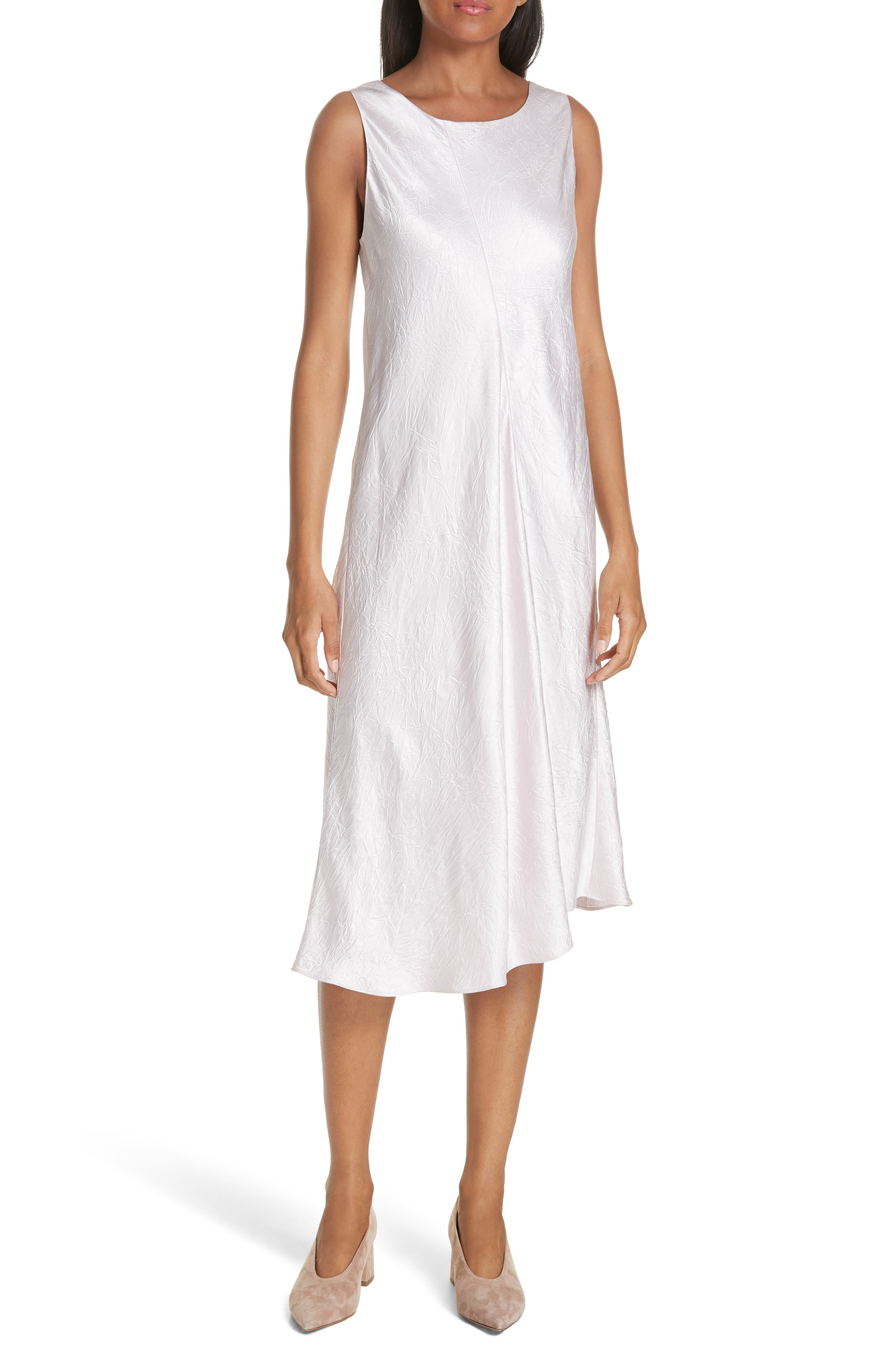 Vince Asymmetrical Crinkled Satin Dress, White