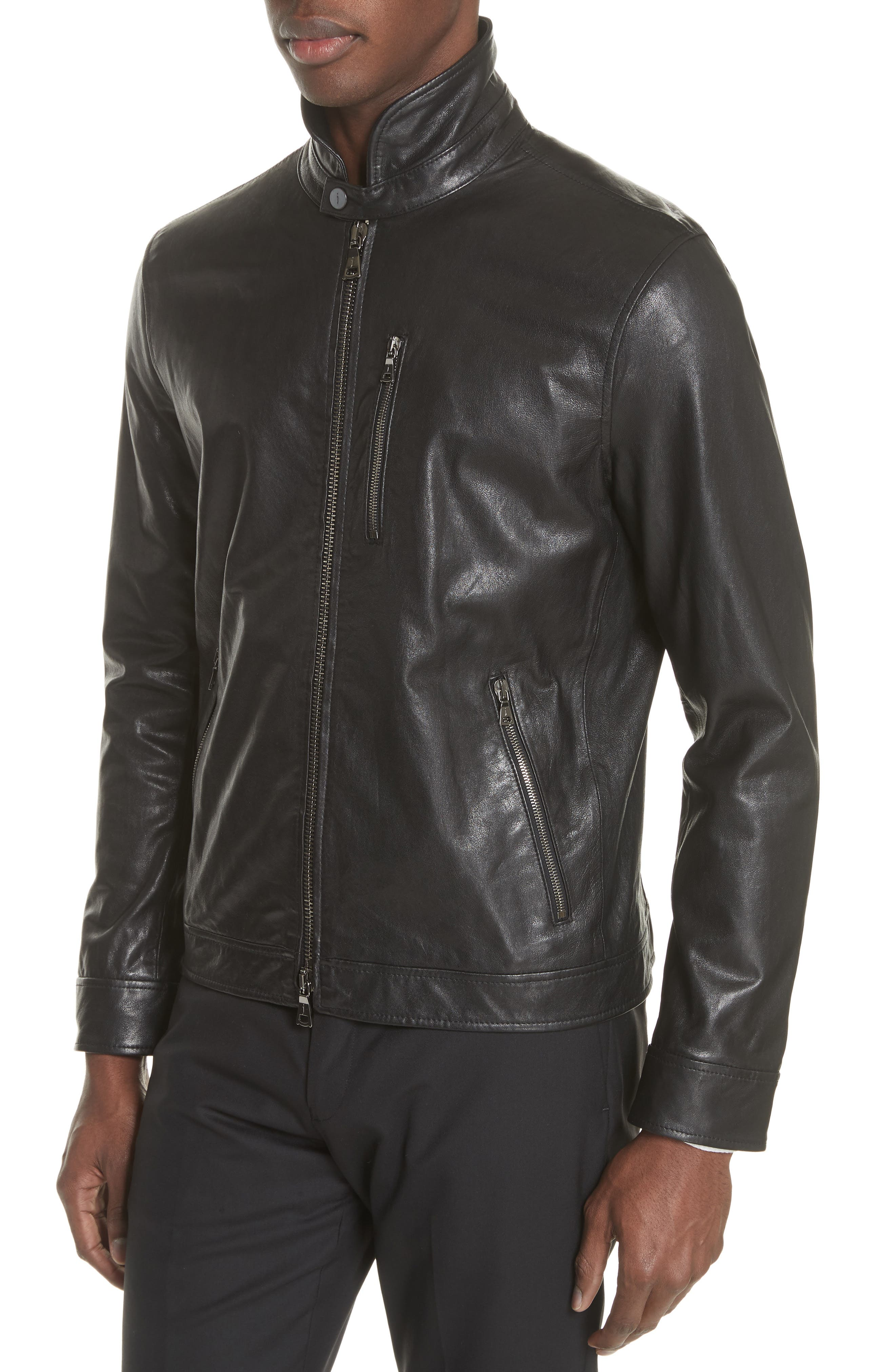 Slim Fit Leather Jacket,                             Alternate thumbnail 4, color,                             001