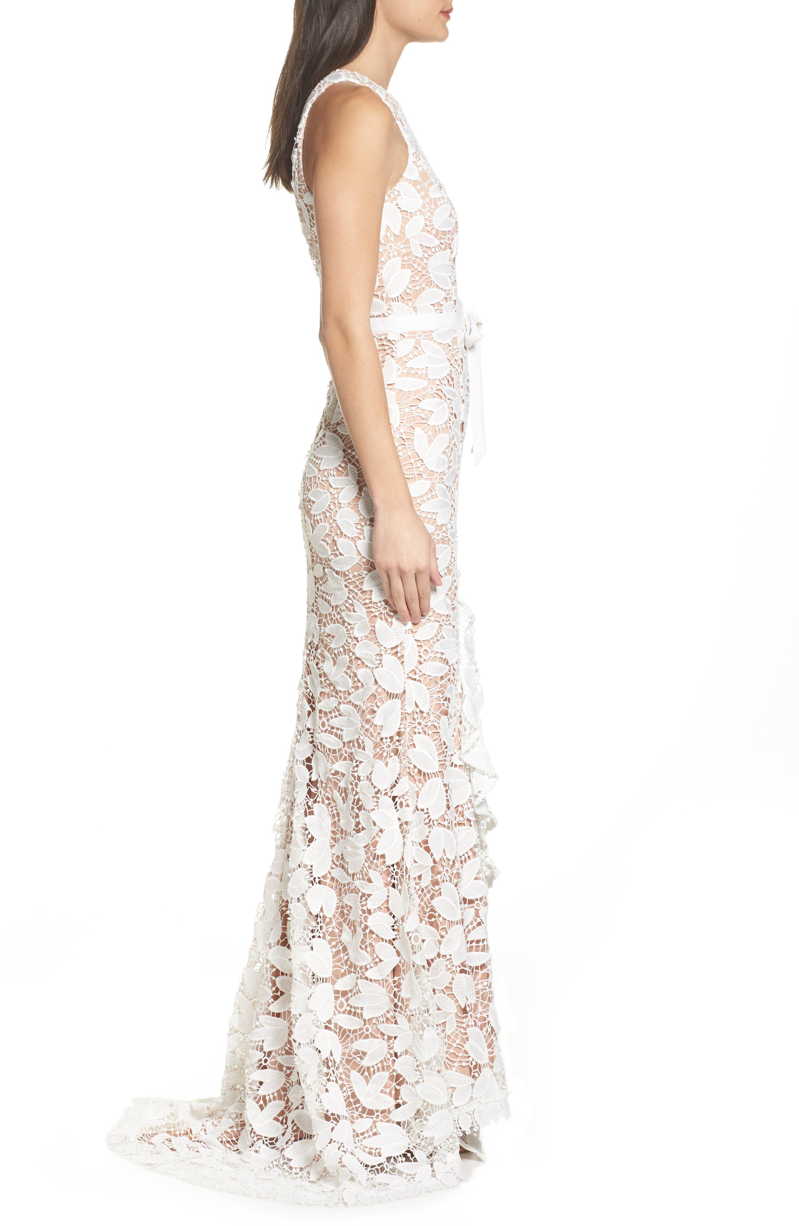 Petal Lace Gown,                             Alternate thumbnail 3, color,                             IVORY