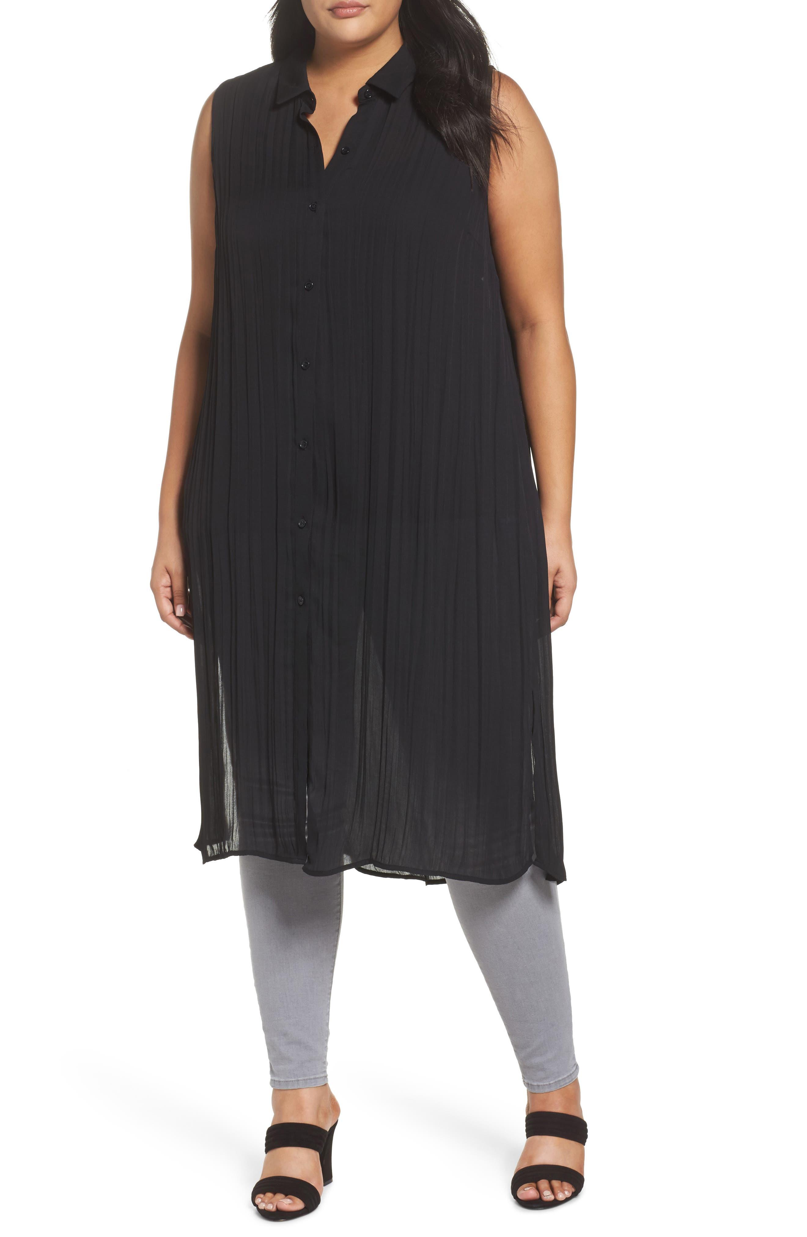 Sleeveless Duster Shirt,                         Main,                         color, 001