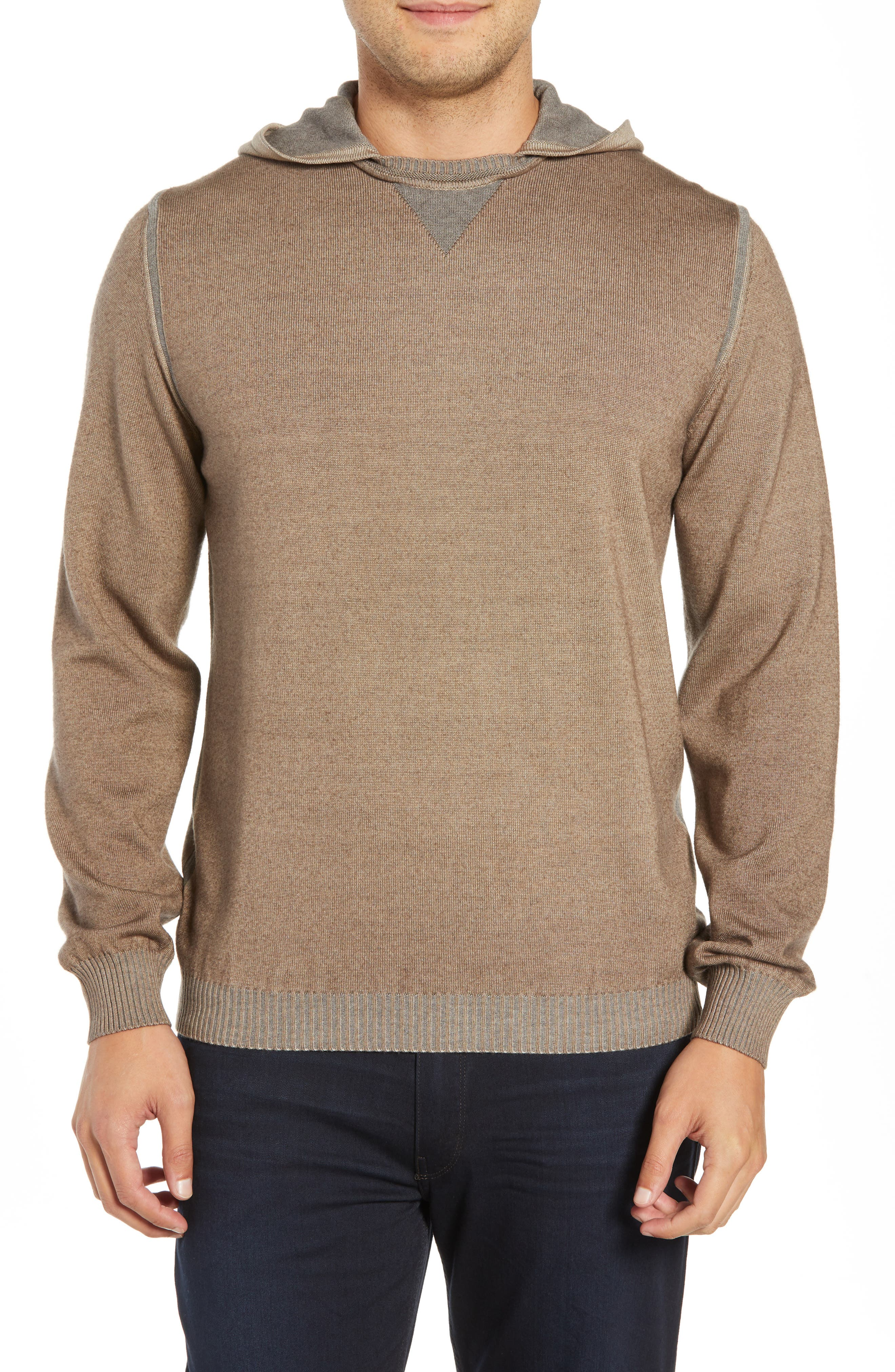BUGATCHI Hooded Pullover, Main, color, SAND