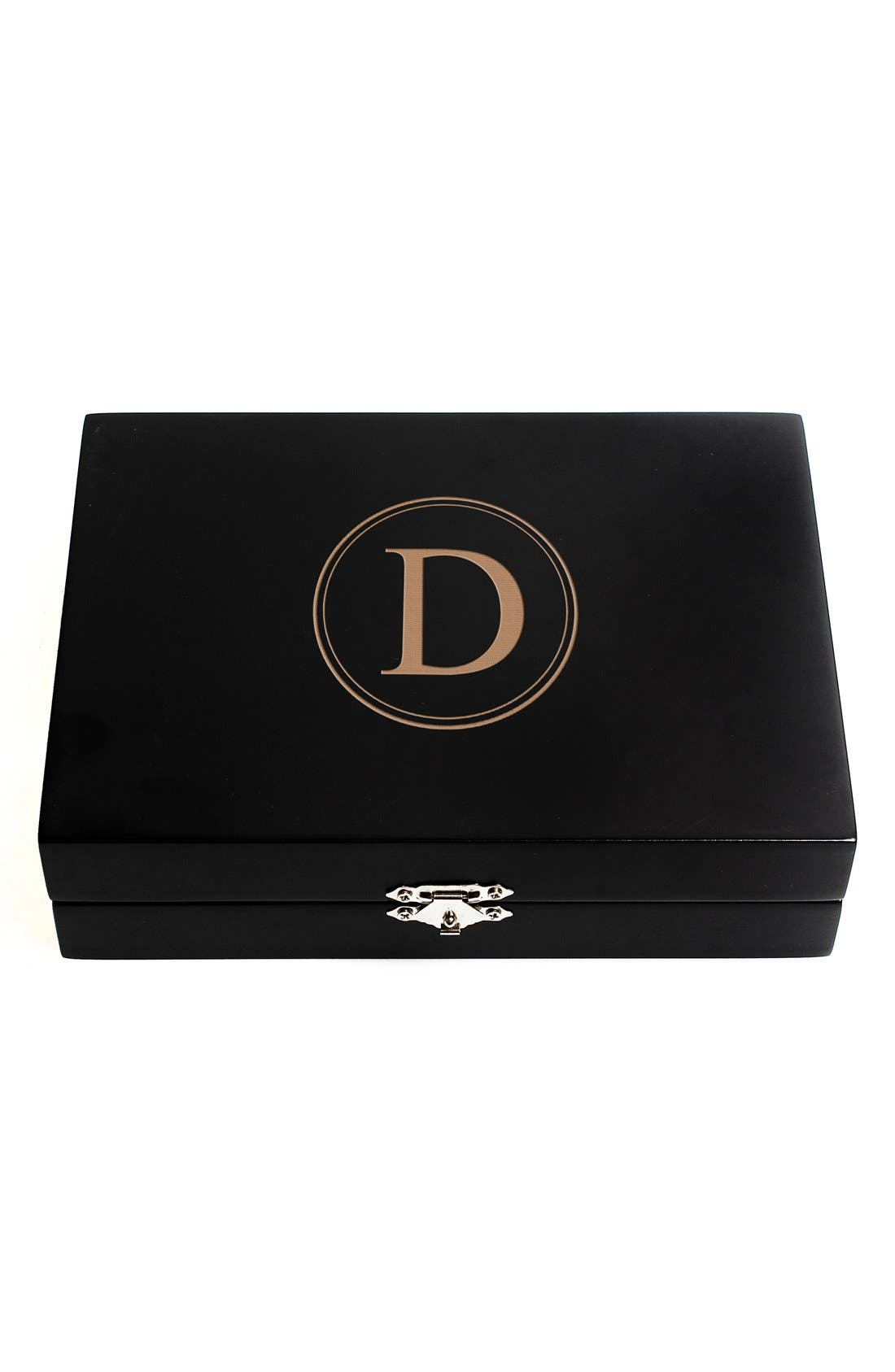 Monogram Wooden Jewelry Box,                             Main thumbnail 6, color,