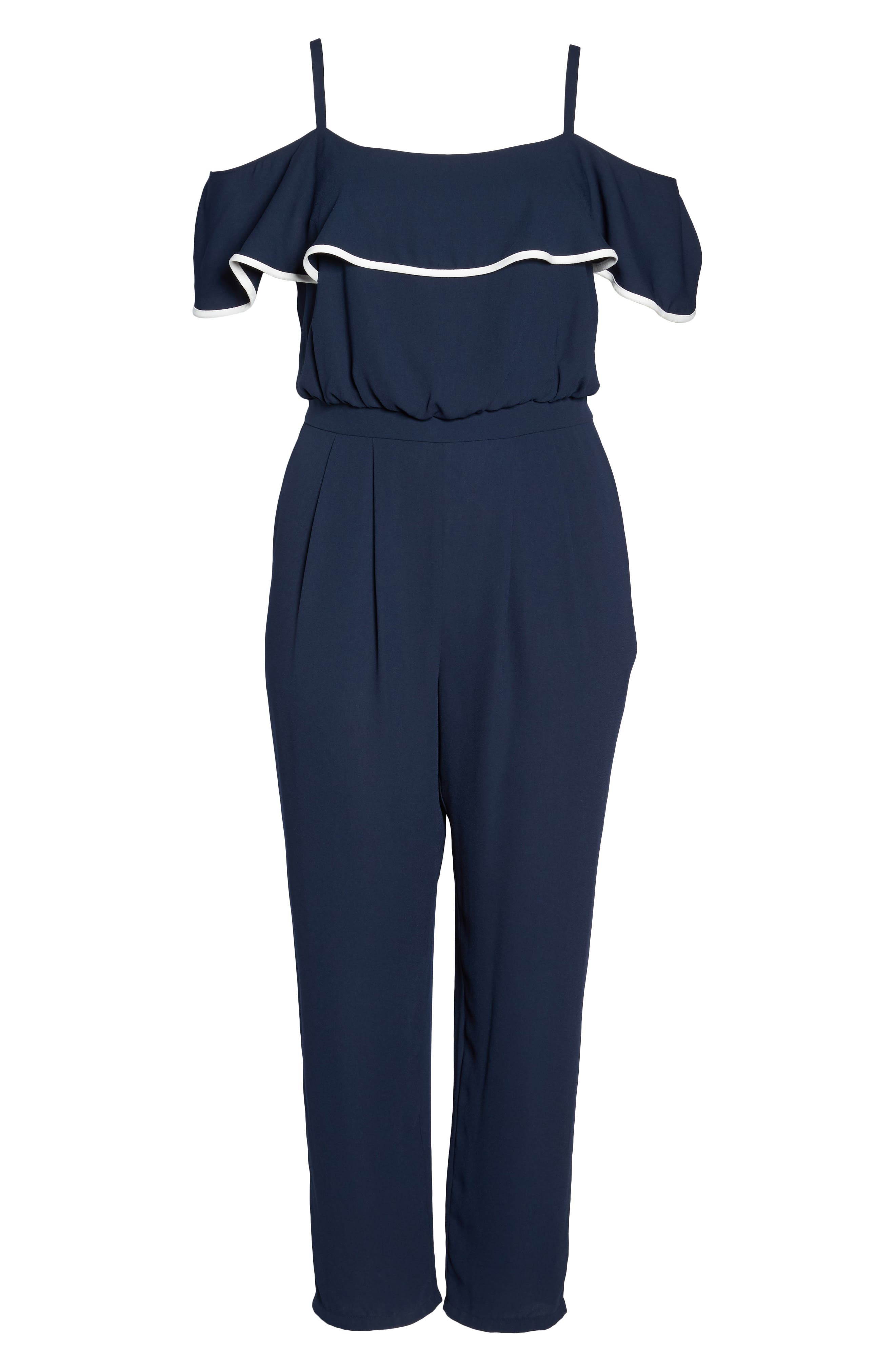 Ruffle Trim Jumpsuit,                             Alternate thumbnail 6, color,
