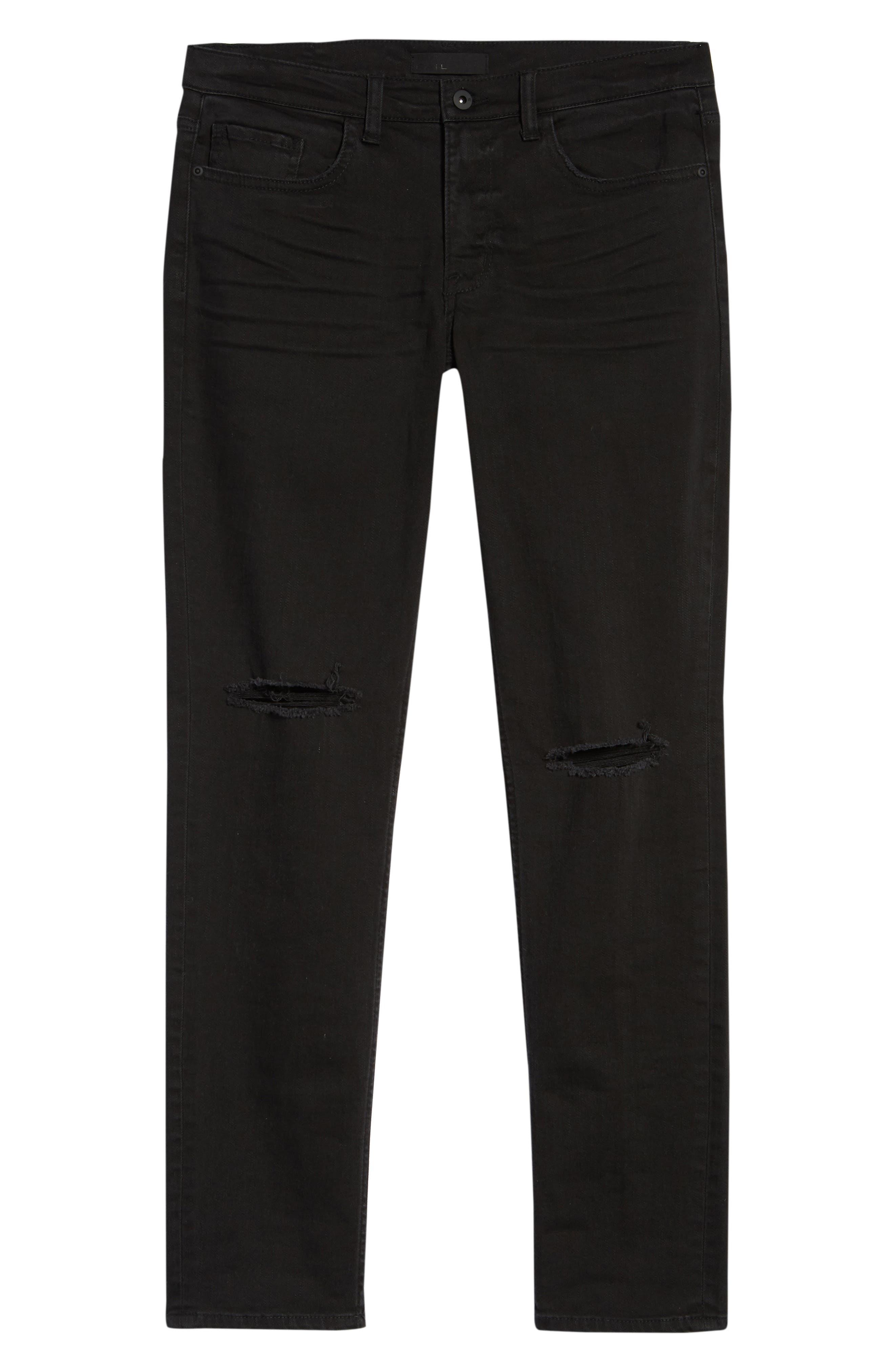 Ripped Skinny Jeans,                             Alternate thumbnail 6, color,                             BLACK STONE WASH
