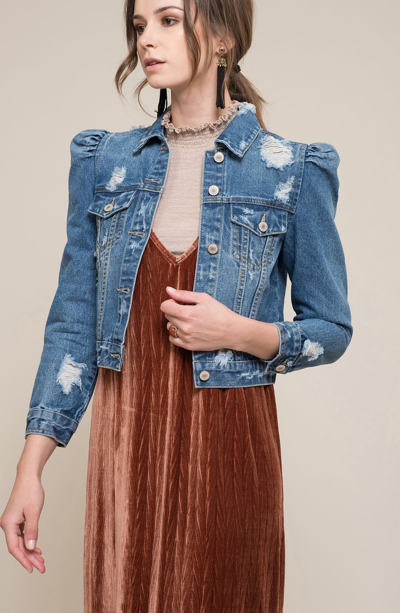 Distressed Denim Jacket,                             Alternate thumbnail 7, color,                             425