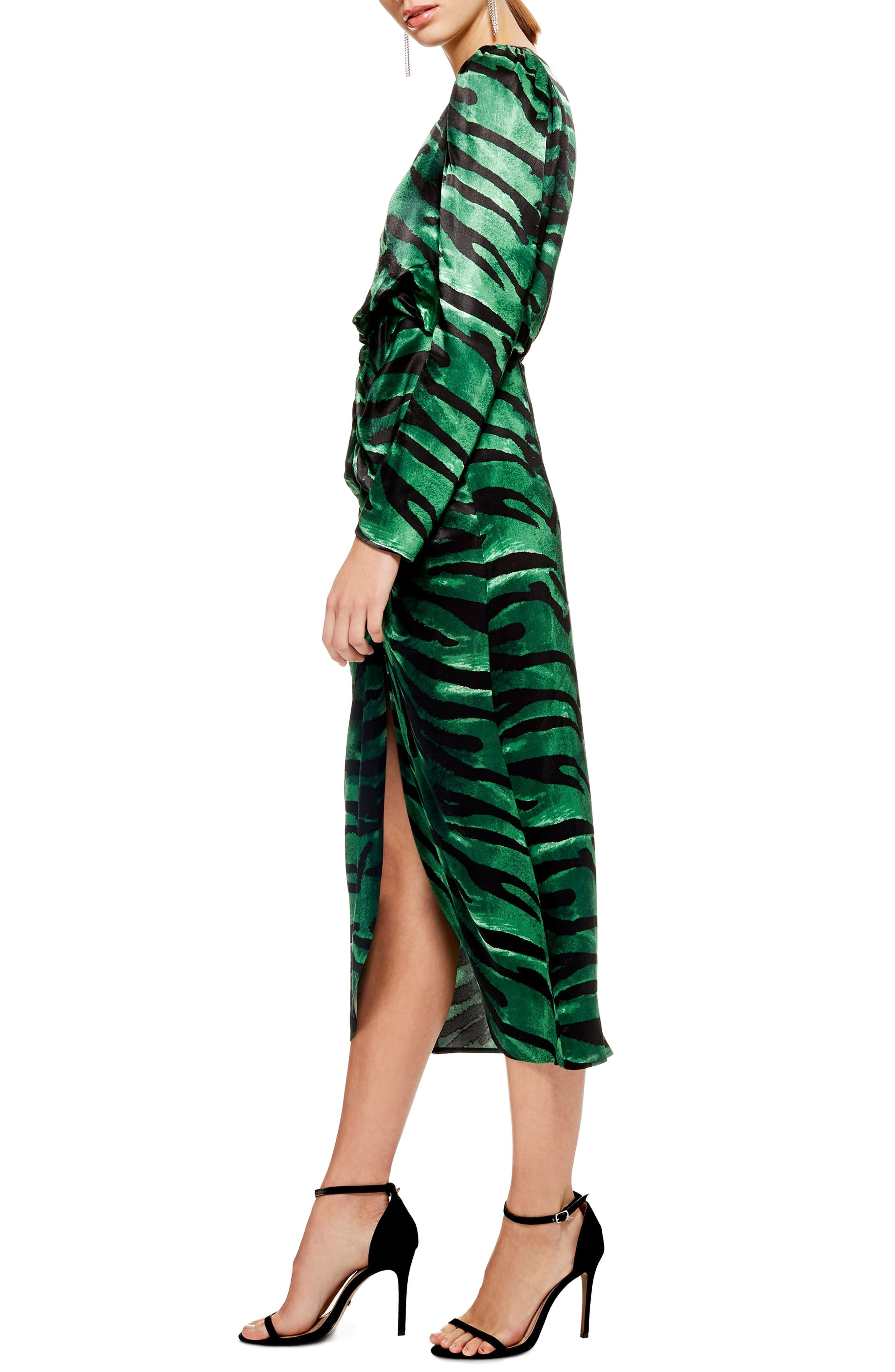 Ruched Long Sleeve Dress,                             Alternate thumbnail 3, color,                             GREEN MULTI