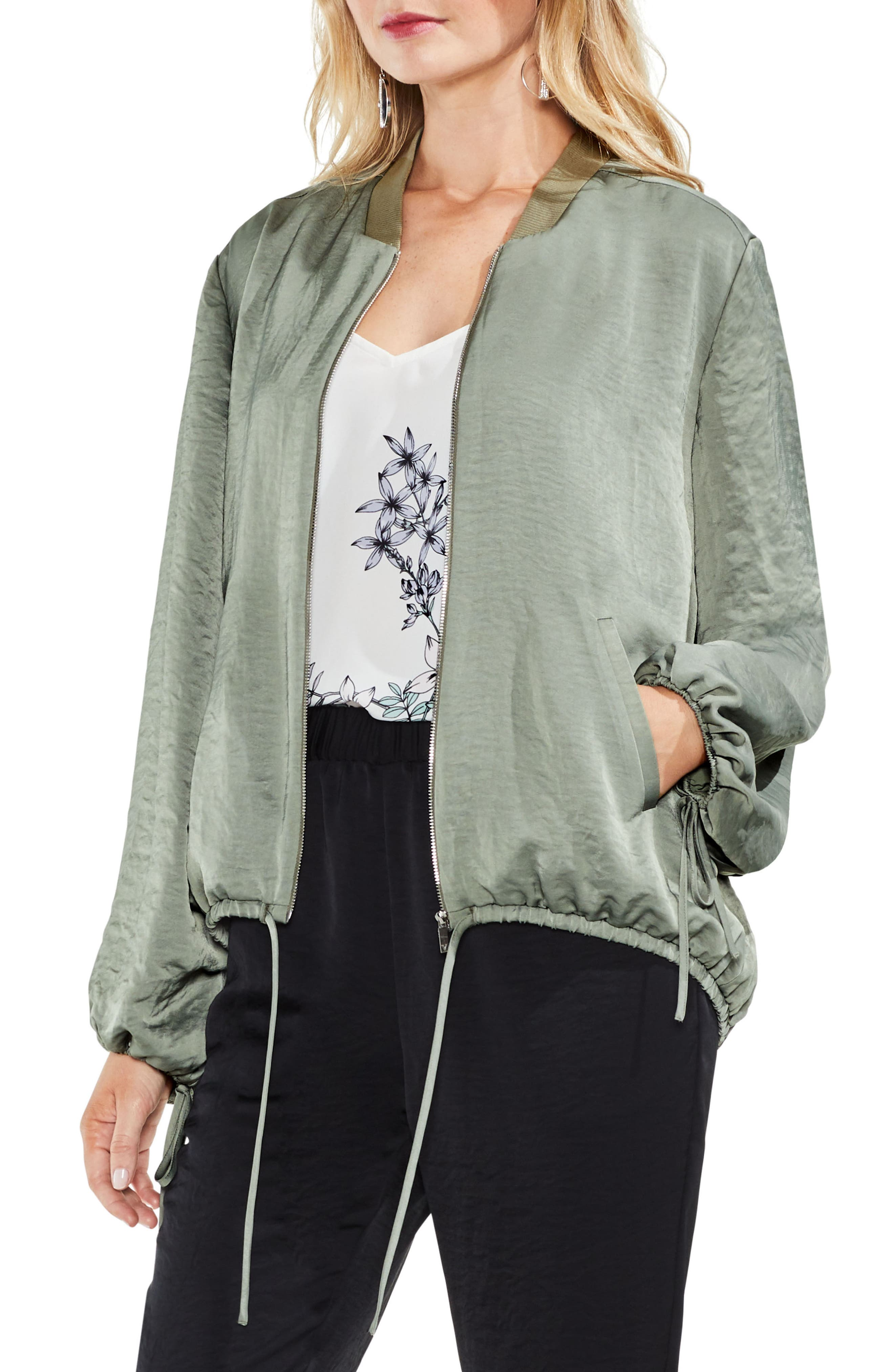 Hammered Satin Drawstring Bomber Jacket,                             Alternate thumbnail 7, color,