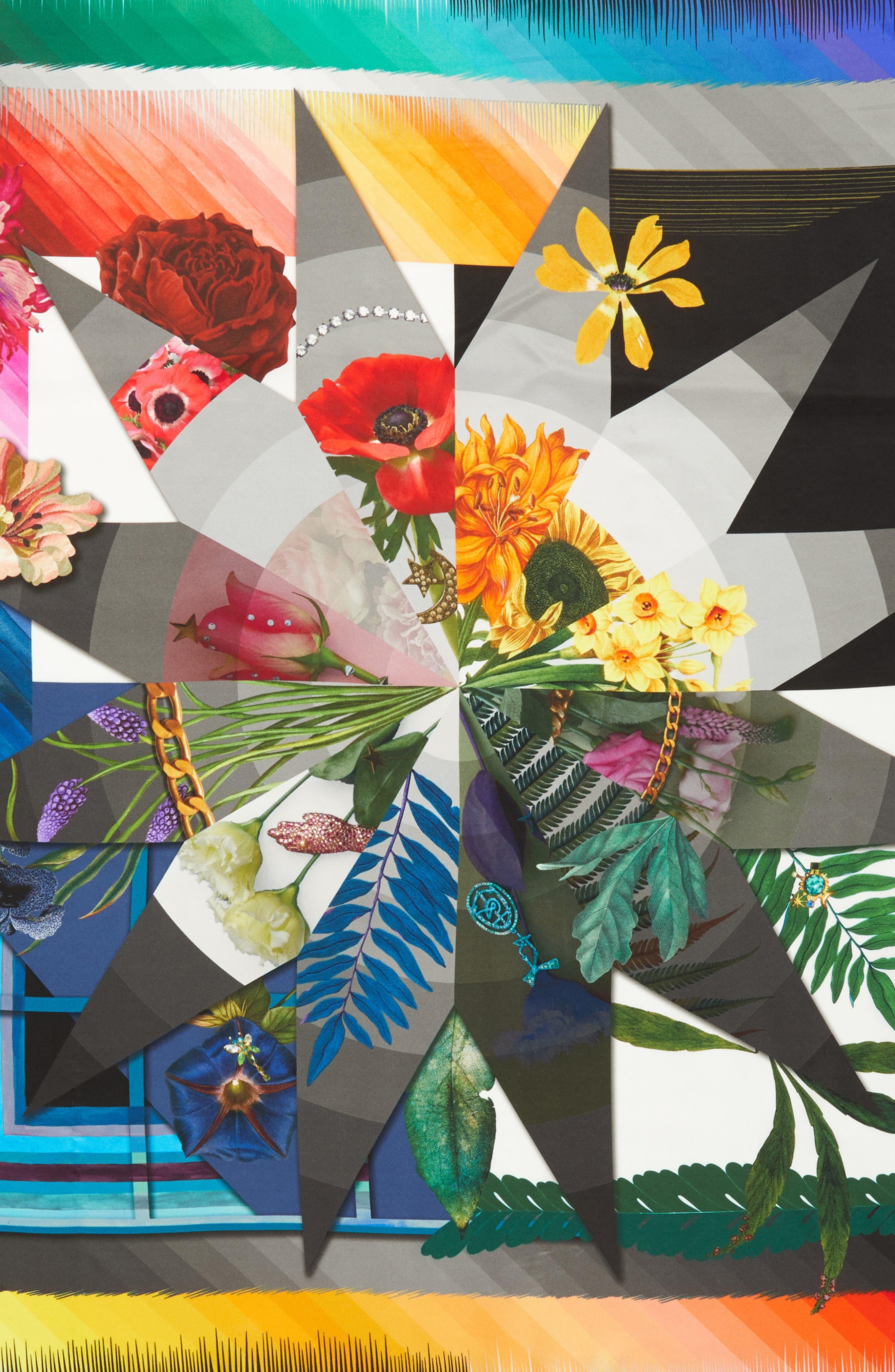 Cristian Lacroix Botanic Silk Scarf,                             Alternate thumbnail 4, color,                             BLACK