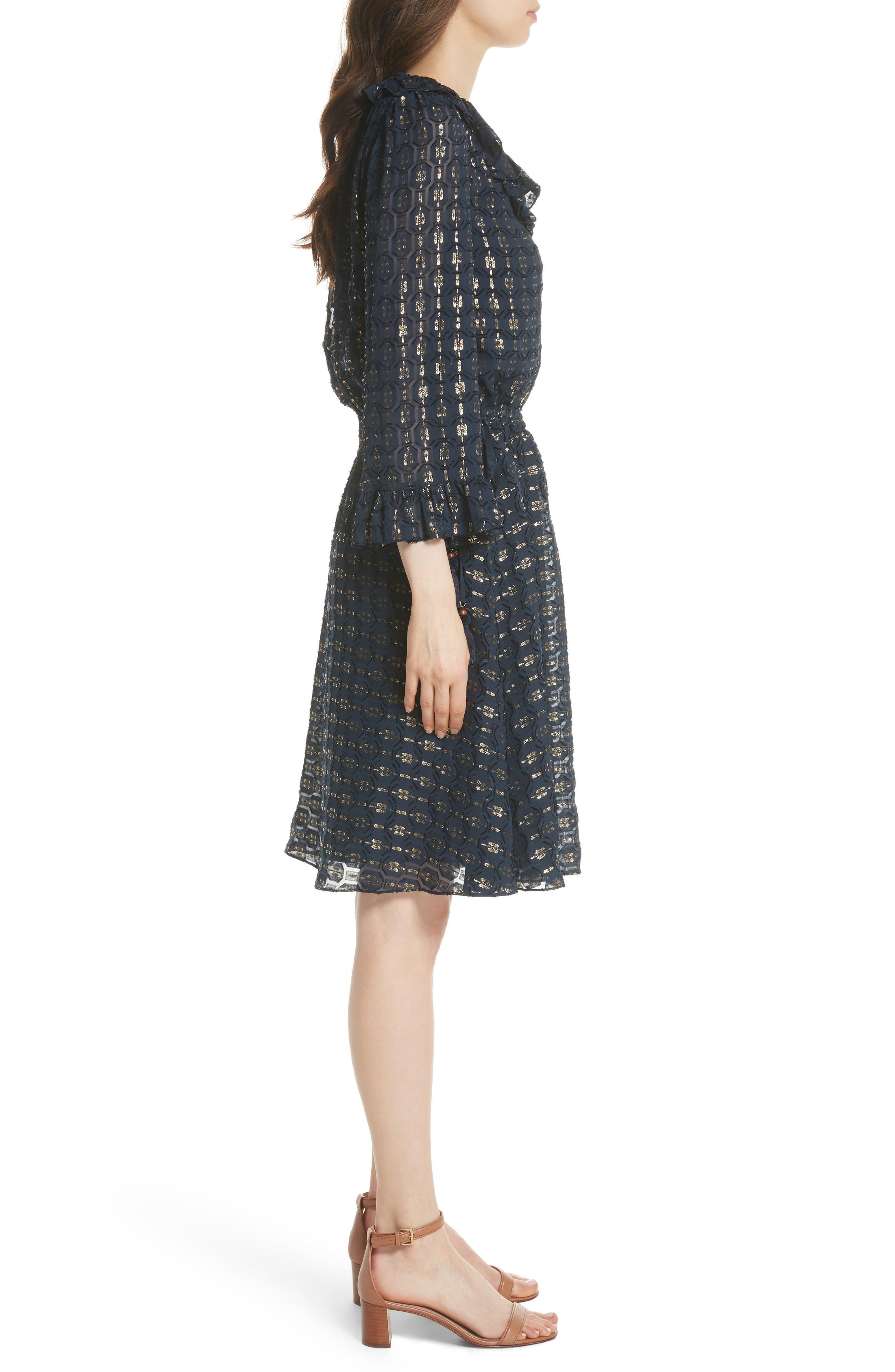 TORY BURCH,                             Jasmine Silk Blend Dress,                             Alternate thumbnail 3, color,                             405