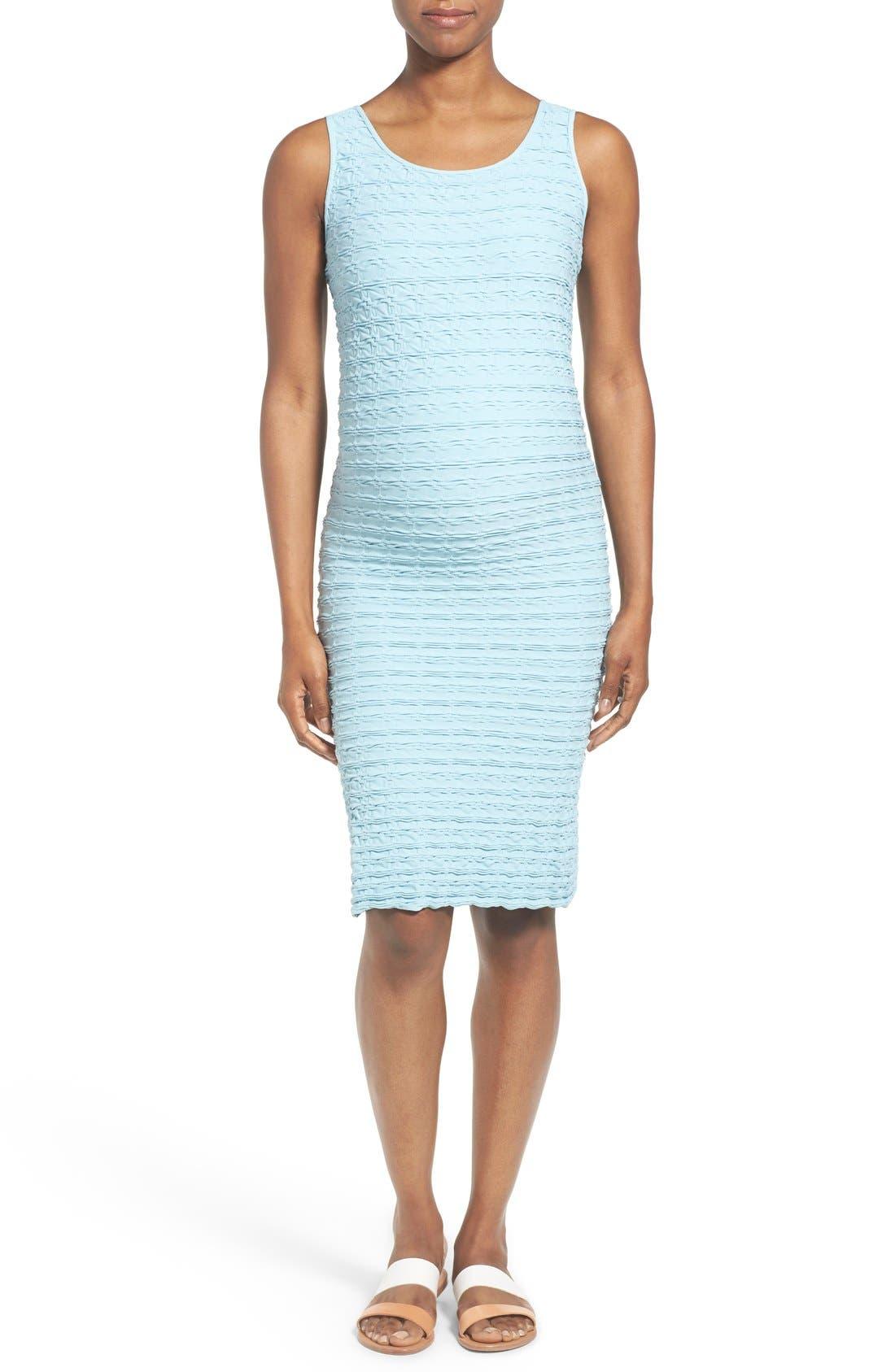 'Crinkle' Tank Maternity Dress,                             Main thumbnail 1, color,                             SKY BLUE