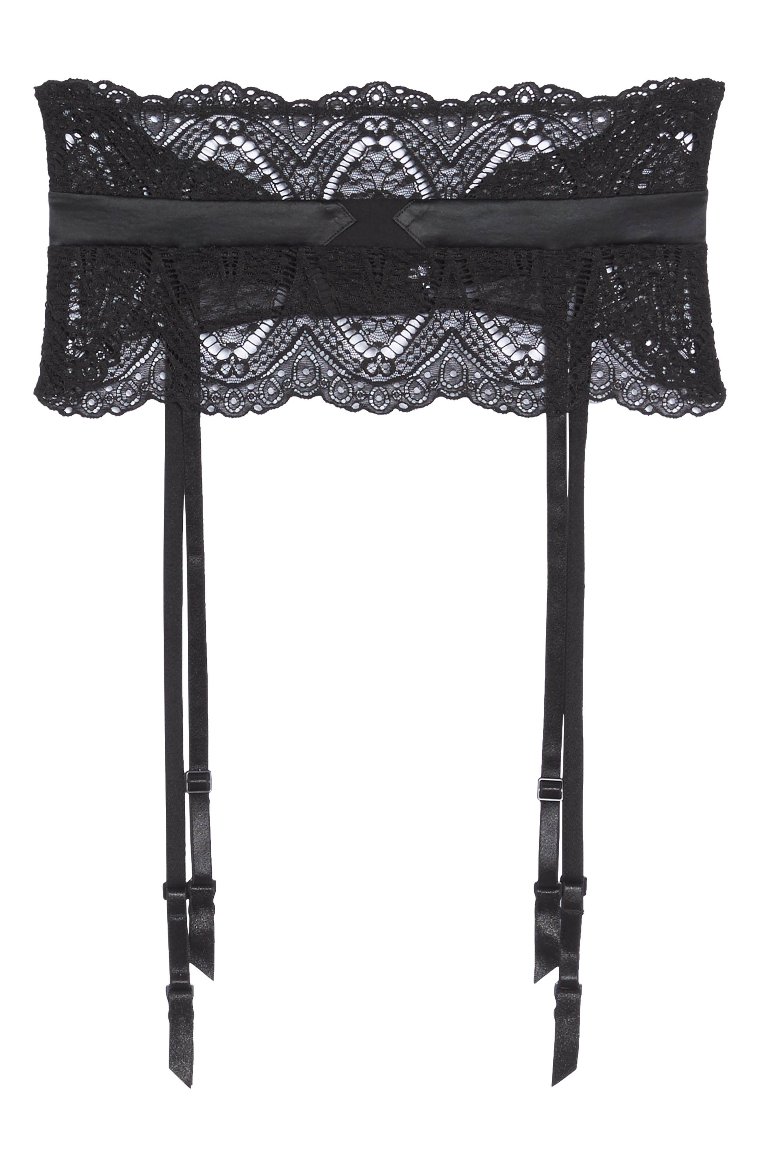 Black Lace Garter Belt,                             Alternate thumbnail 5, color,                             001