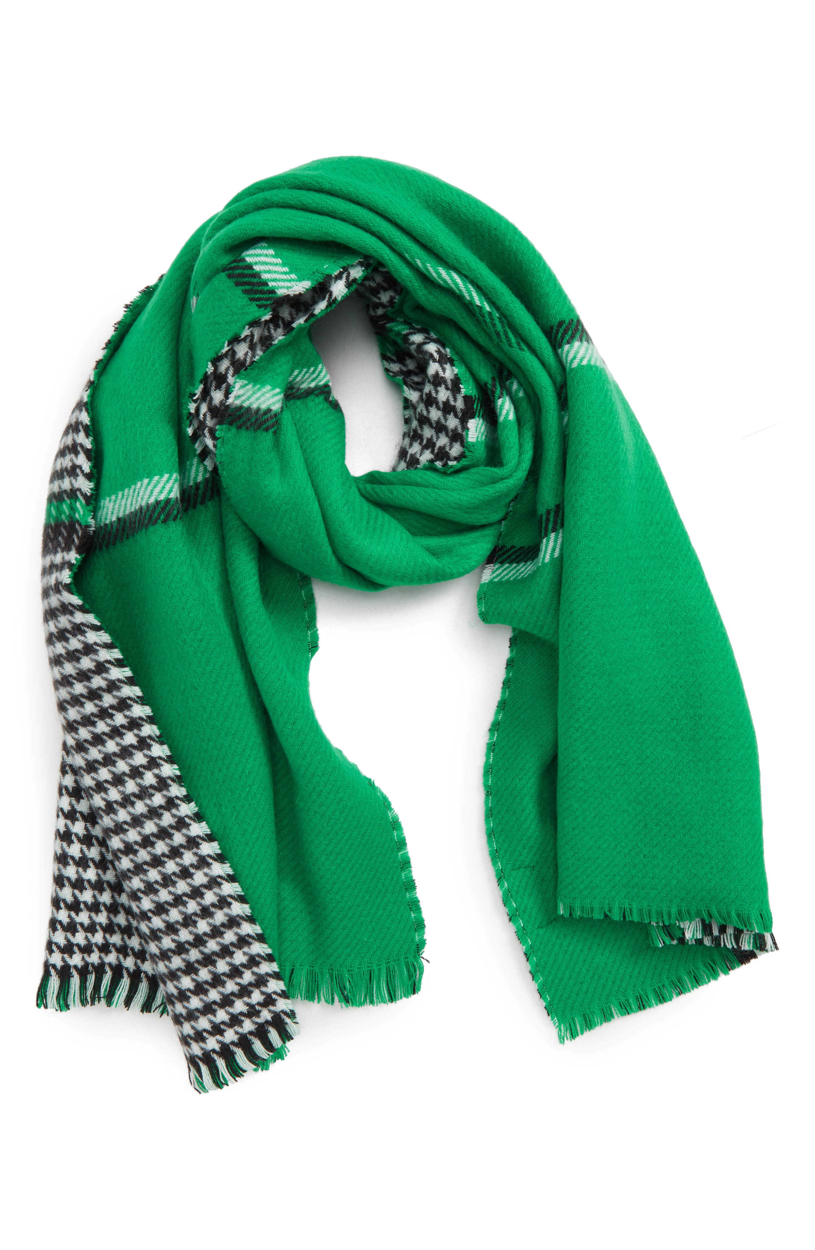 Double Sided Check Blanket Scarf,                             Alternate thumbnail 2, color,                             GREEN COMBO