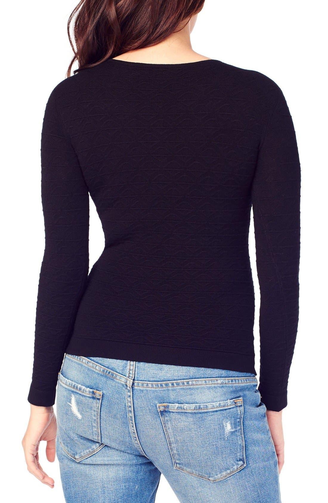 Ingrid & Isabel Textured Knit Maternity Sweater,                             Alternate thumbnail 2, color,                             JET BLACK