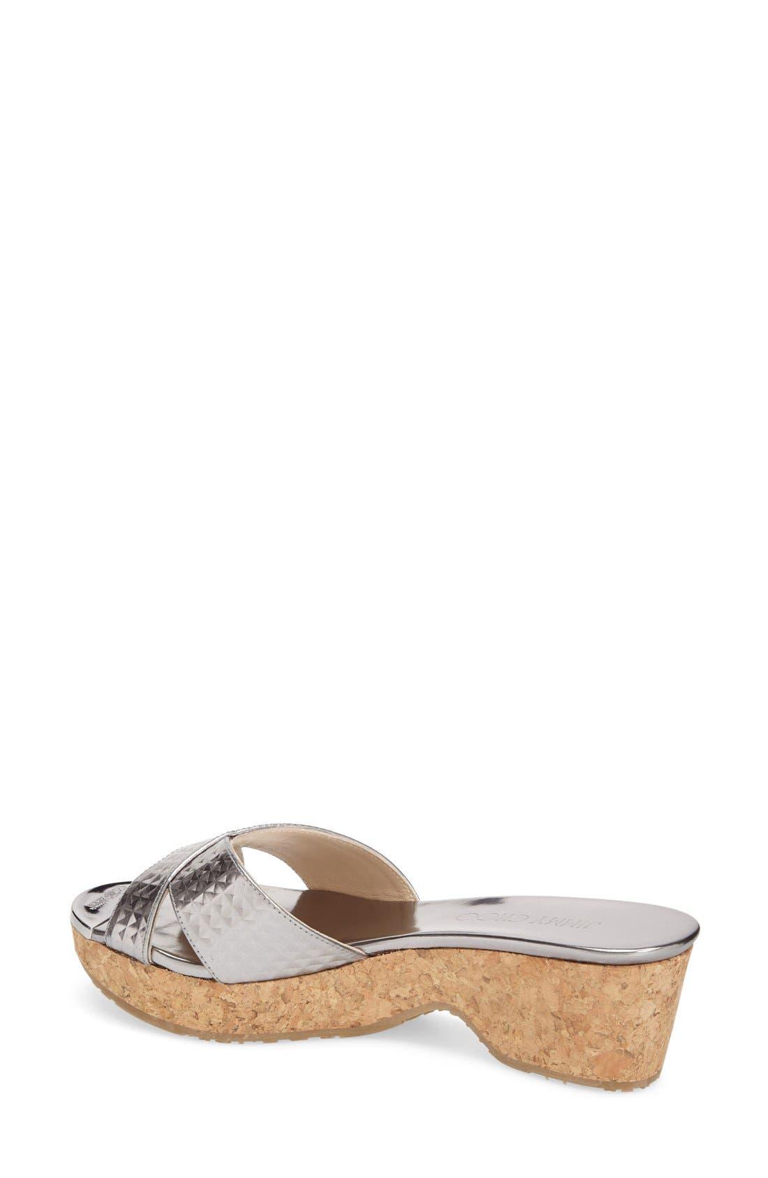 'Panna' Cork Wedge Slide Sandal,                             Alternate thumbnail 4, color,                             040