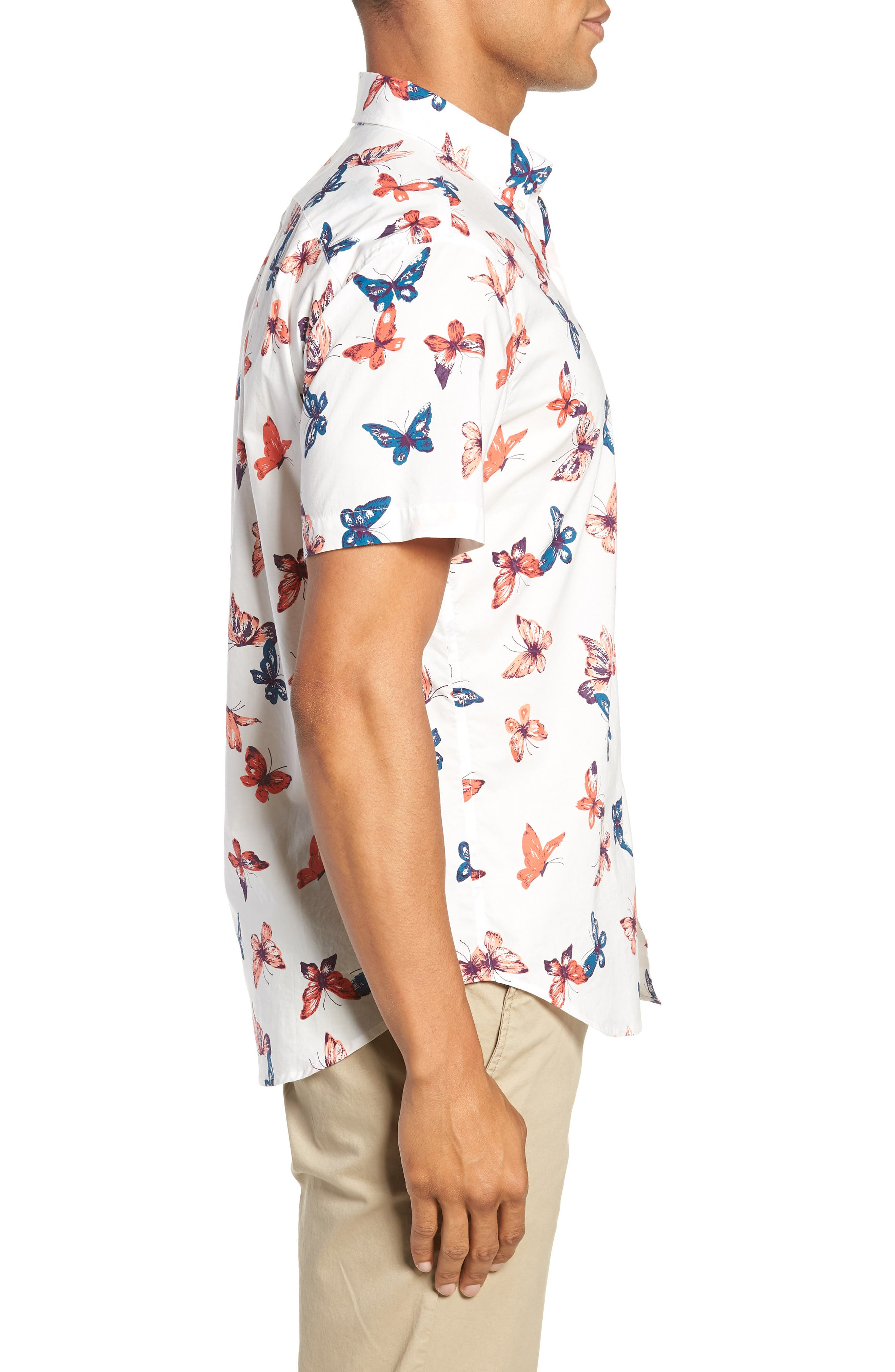 Riviera Butterfly Print Sport Shirt,                             Alternate thumbnail 4, color,                             BIG BUTTERFLIES