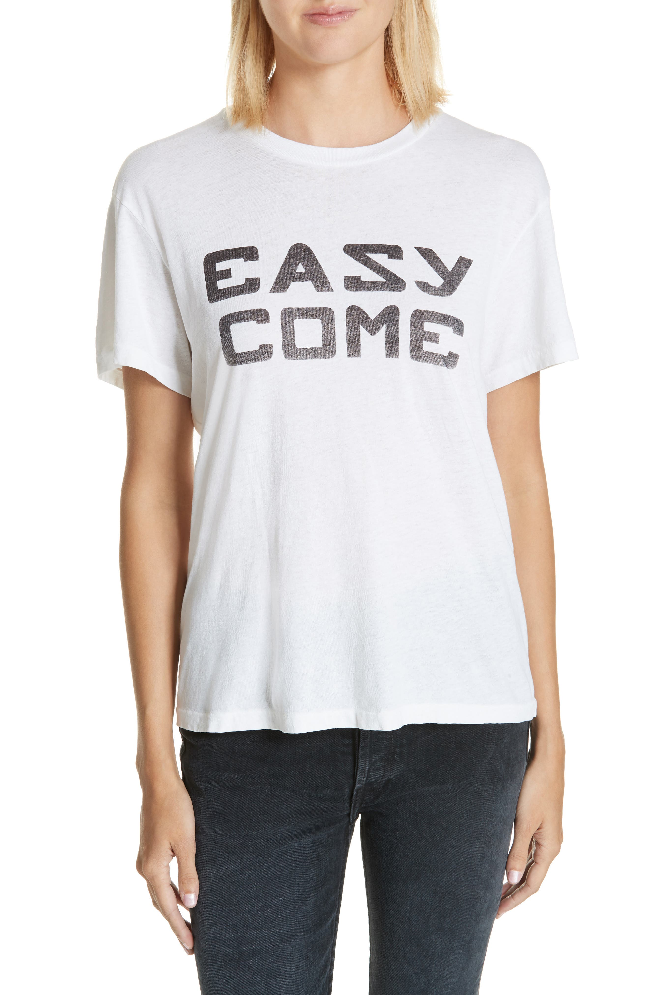 Easy Come Easy Go Girlfriend Tee,                         Main,                         color, OPTIC WHITE
