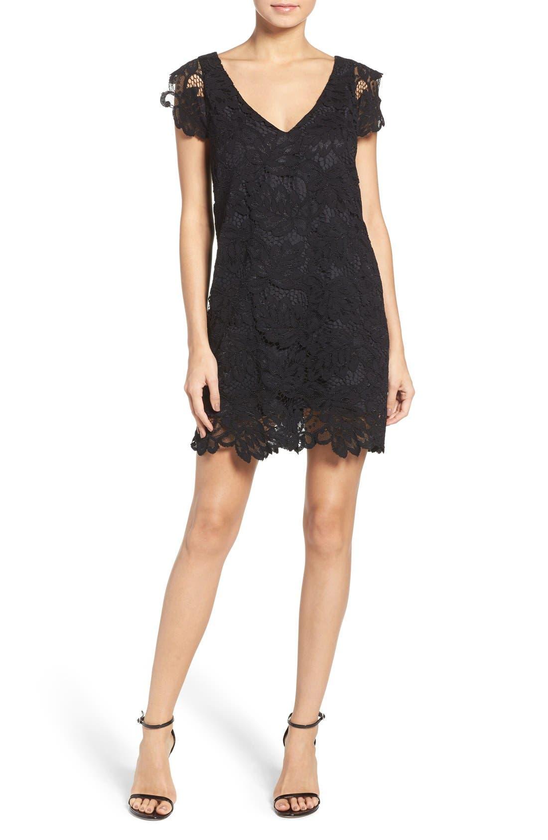'Jacqueline' Lace Shift Dress,                             Alternate thumbnail 12, color,                             BLACK