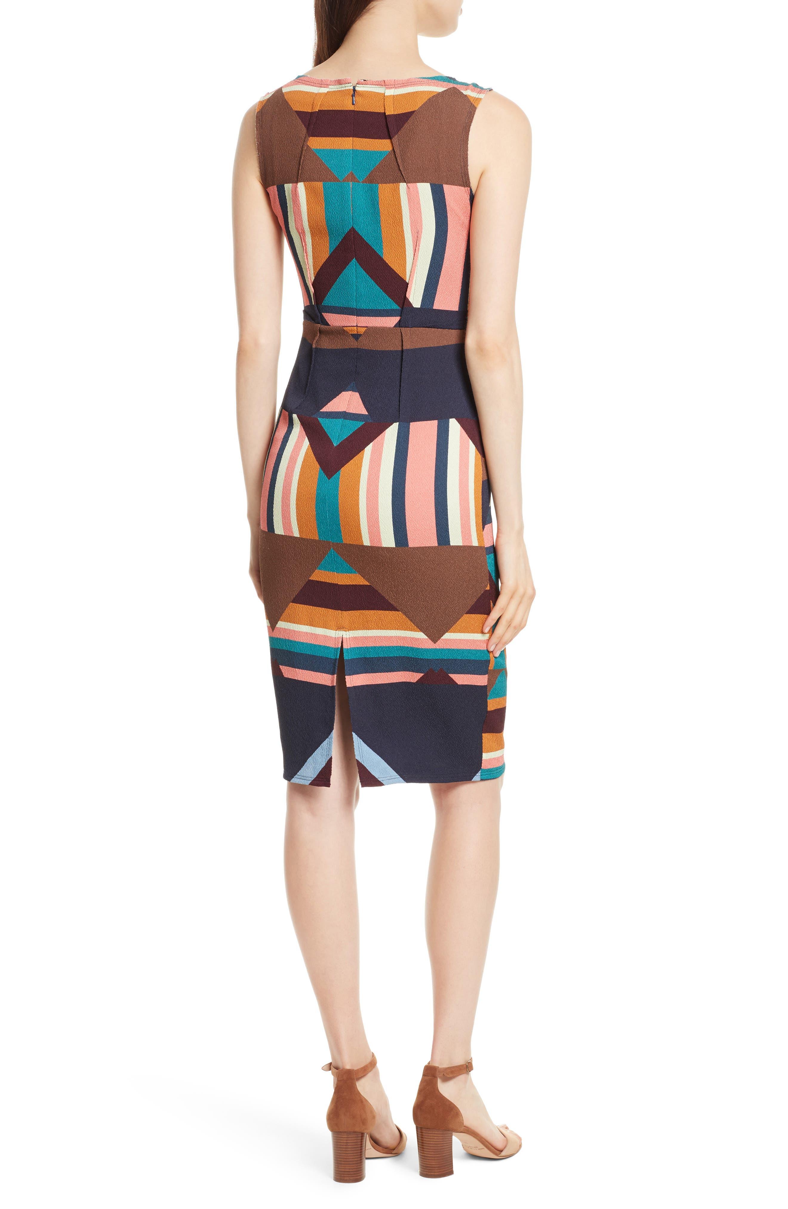 Print Stretch Silk Sheath Dress,                             Alternate thumbnail 2, color,                             244