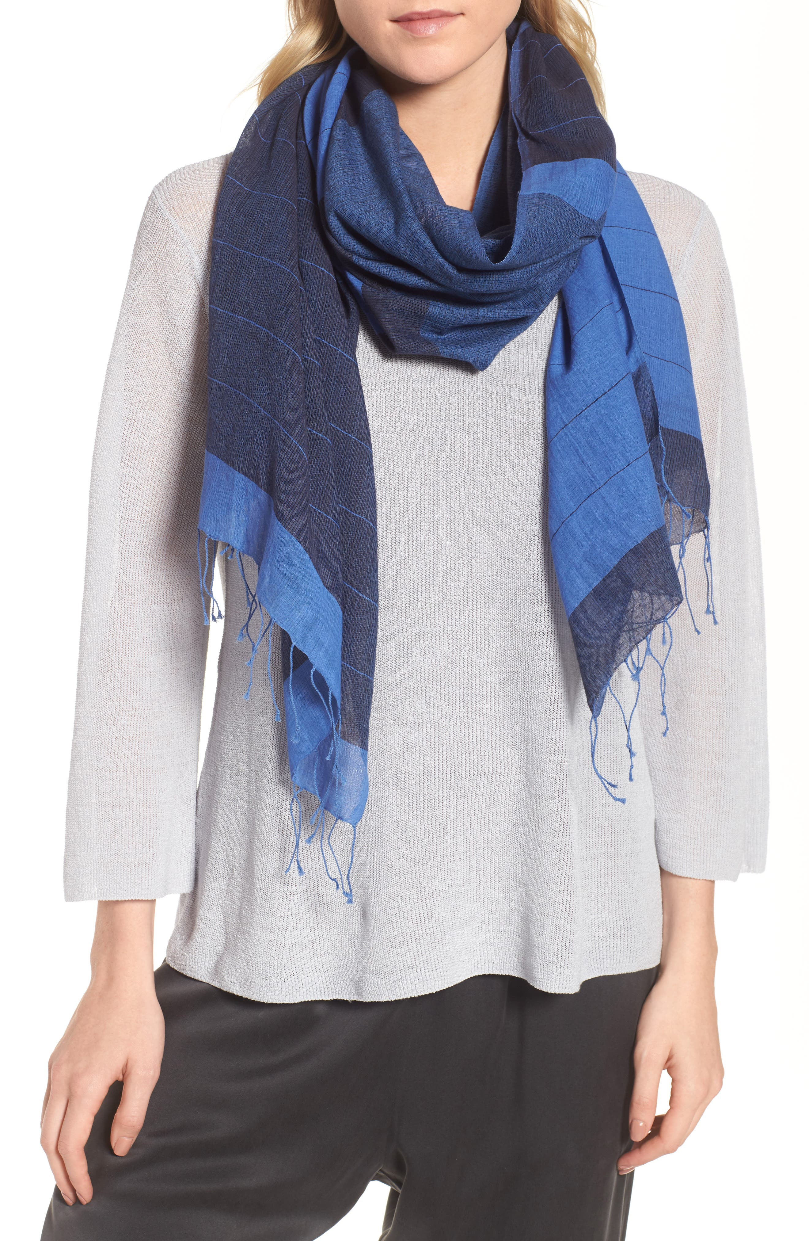 EILEEN FISHER Colorblock Organic Cotton Scarf, Main, color, 405