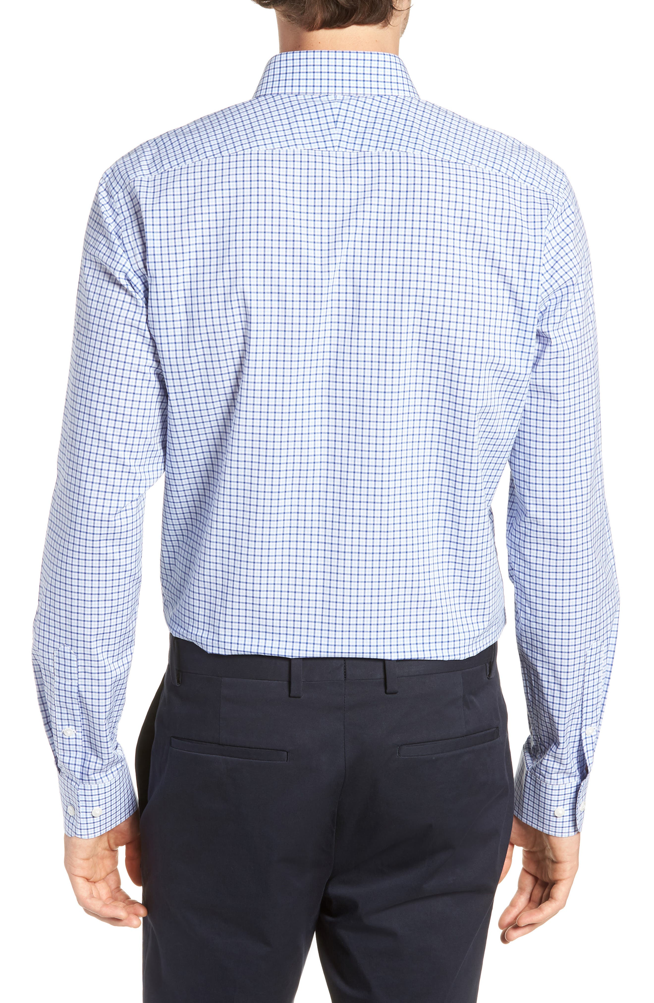 Trim Fit Check Dress Shirt,                             Alternate thumbnail 3, color,                             BLUE SODALITE