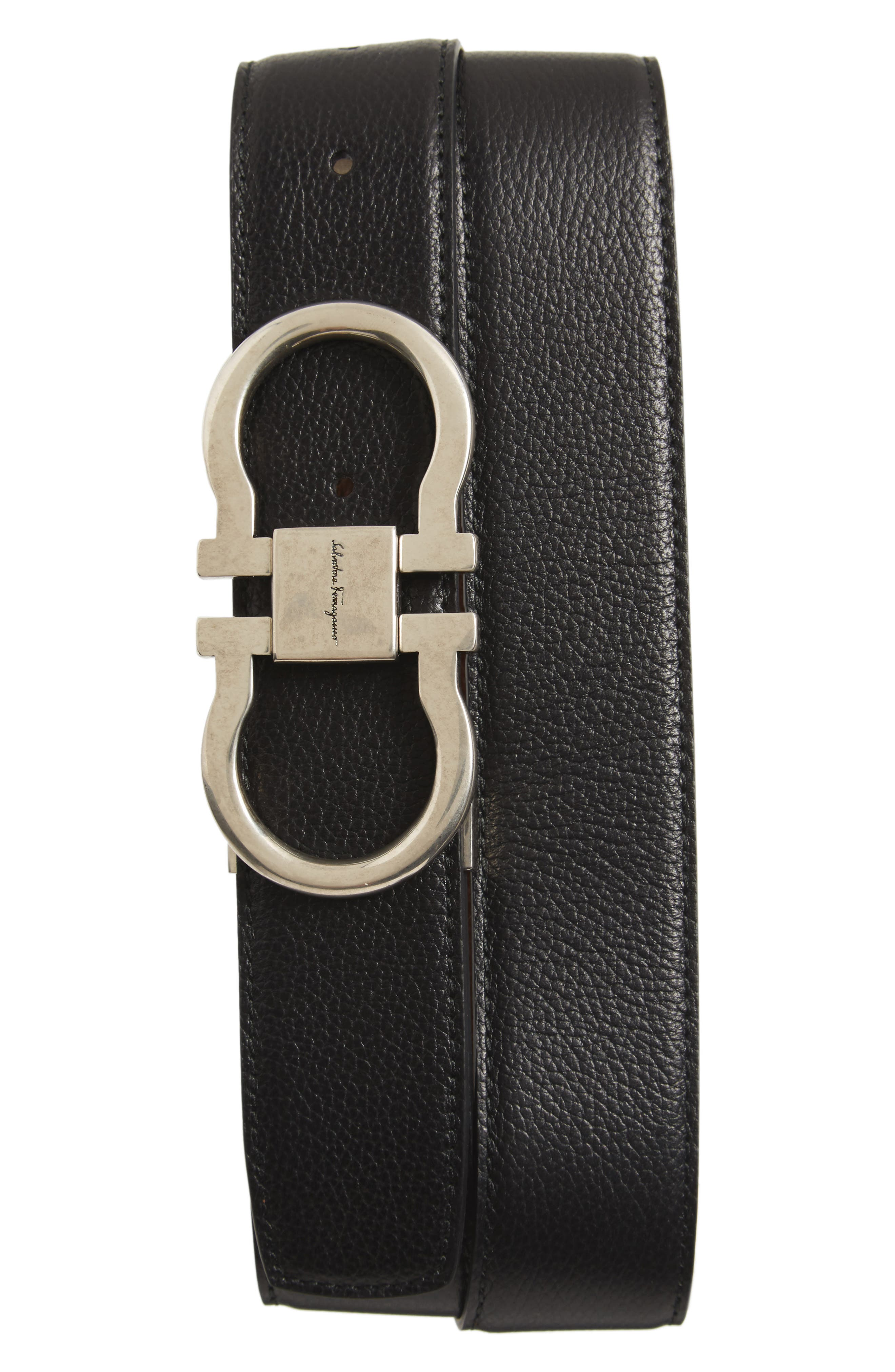 Double Gancini Reversible Leather Belt,                             Main thumbnail 1, color,                             007