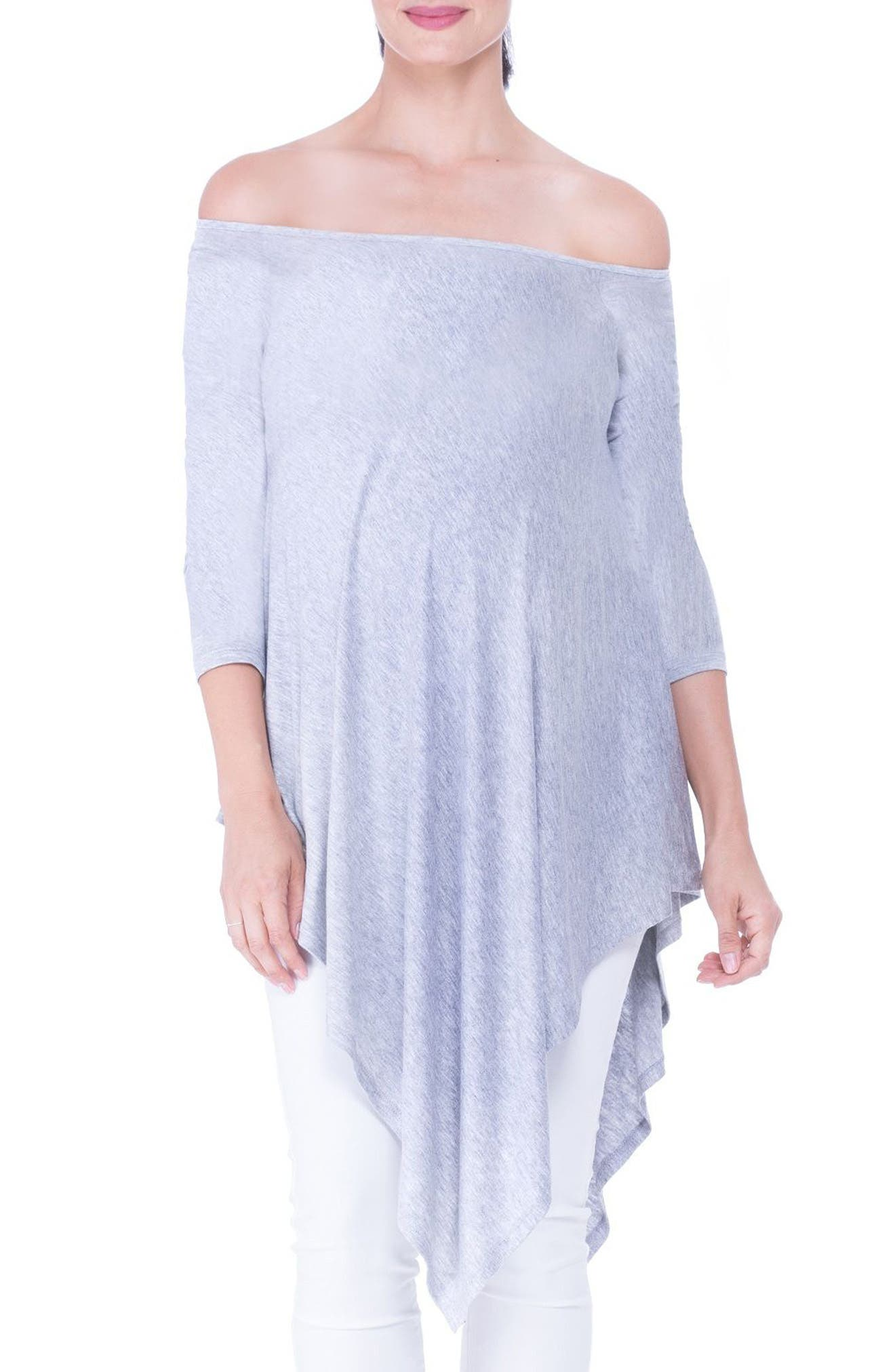 Off the Shoulder Maternity Tunic,                             Main thumbnail 1, color,                             HEATHER GREY