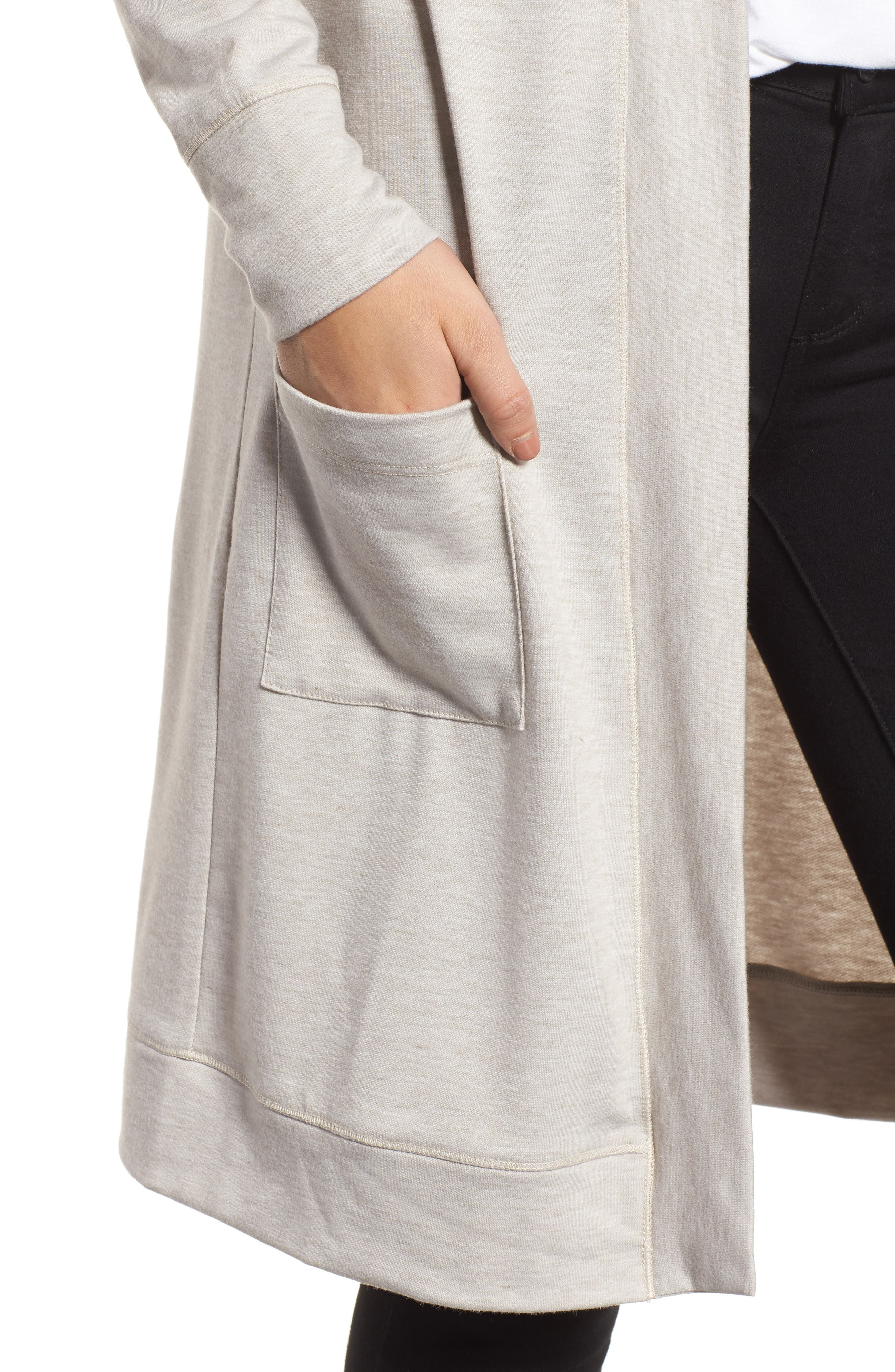 Long French Terry Cardigan,                             Alternate thumbnail 18, color,