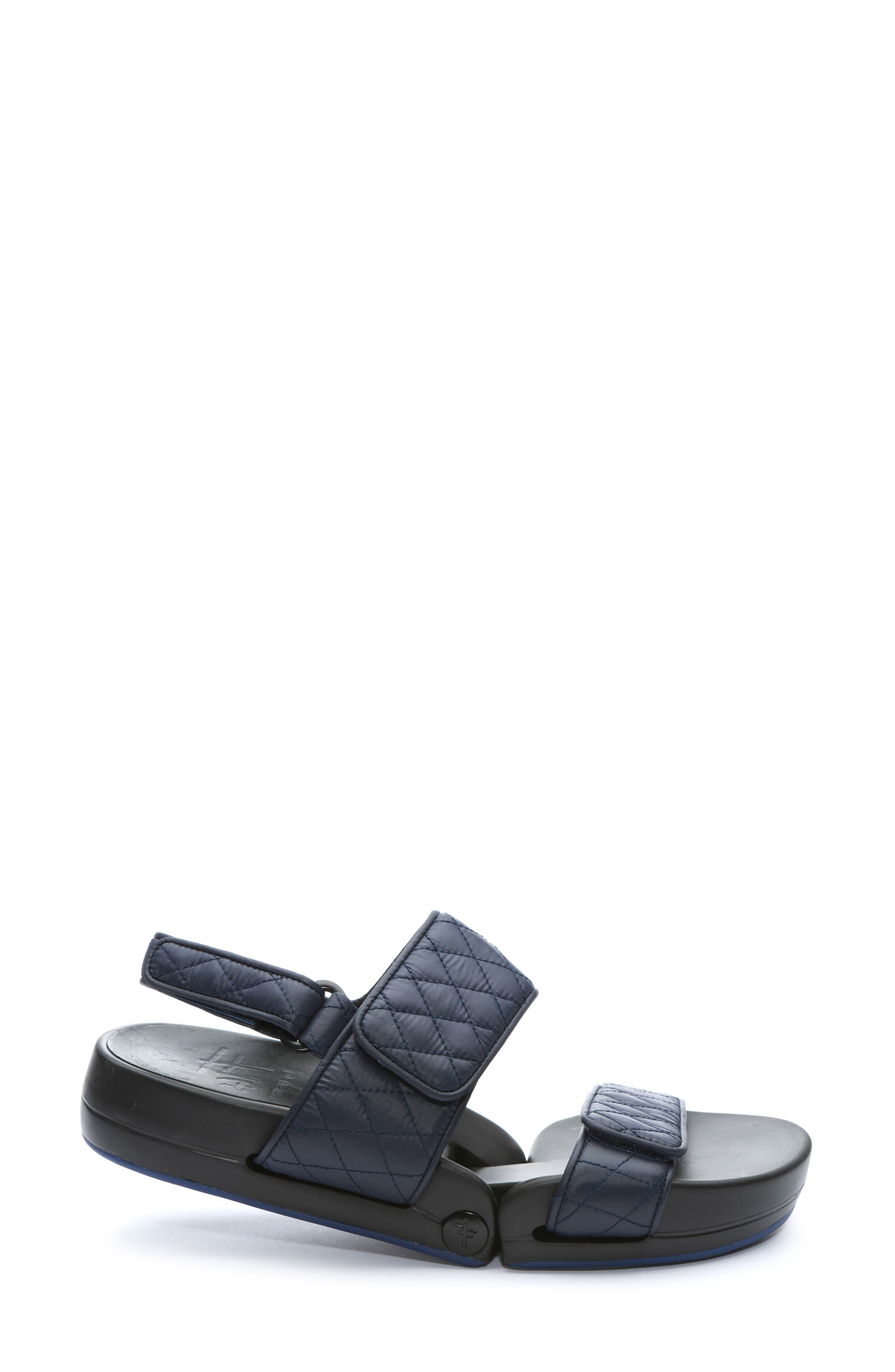 Figulous Quilted Sandal,                             Alternate thumbnail 3, color,                             NAVY FABRIC