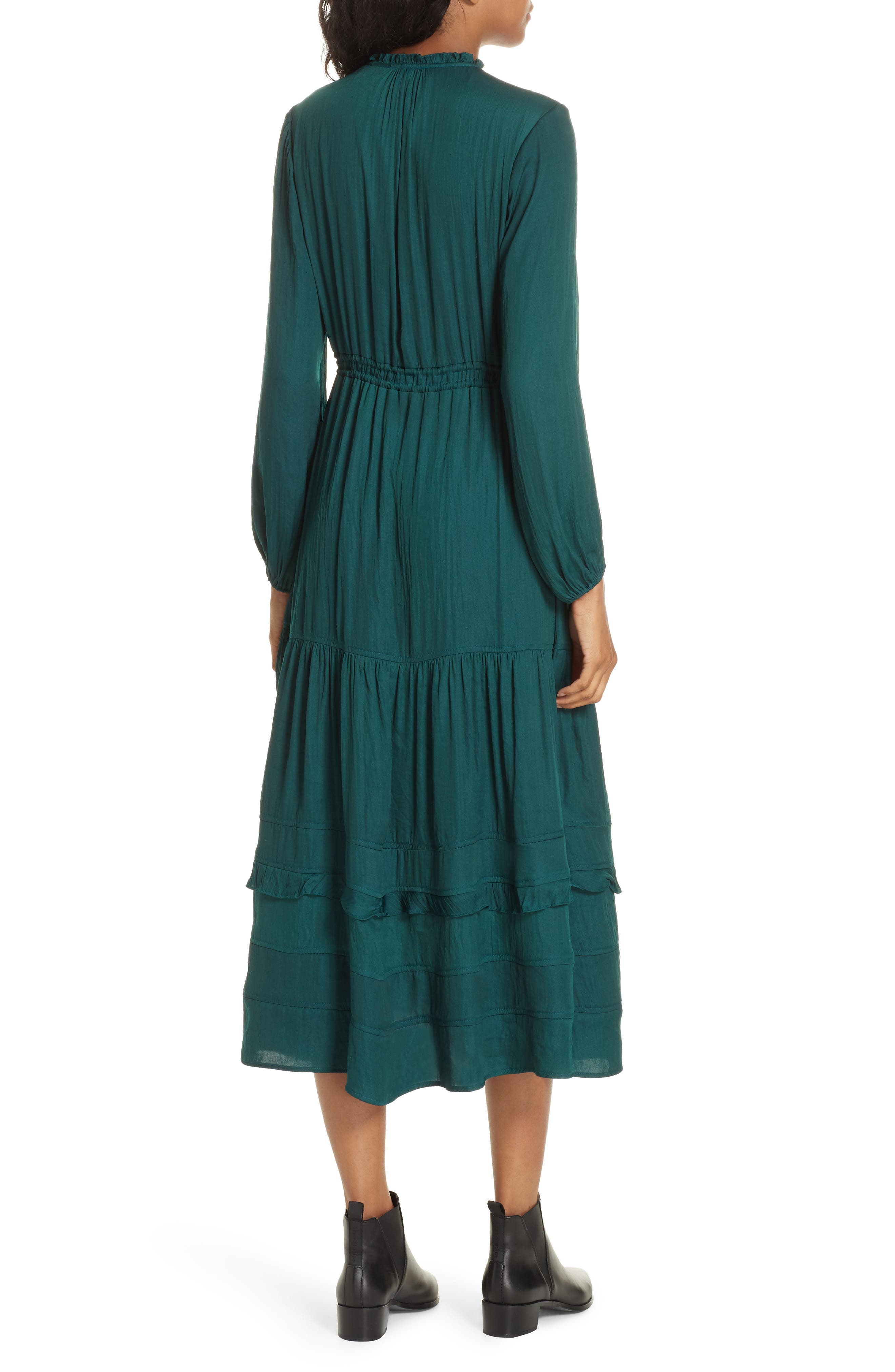 Tassel Tie Midi Dress,                             Alternate thumbnail 2, color,                             FOREST