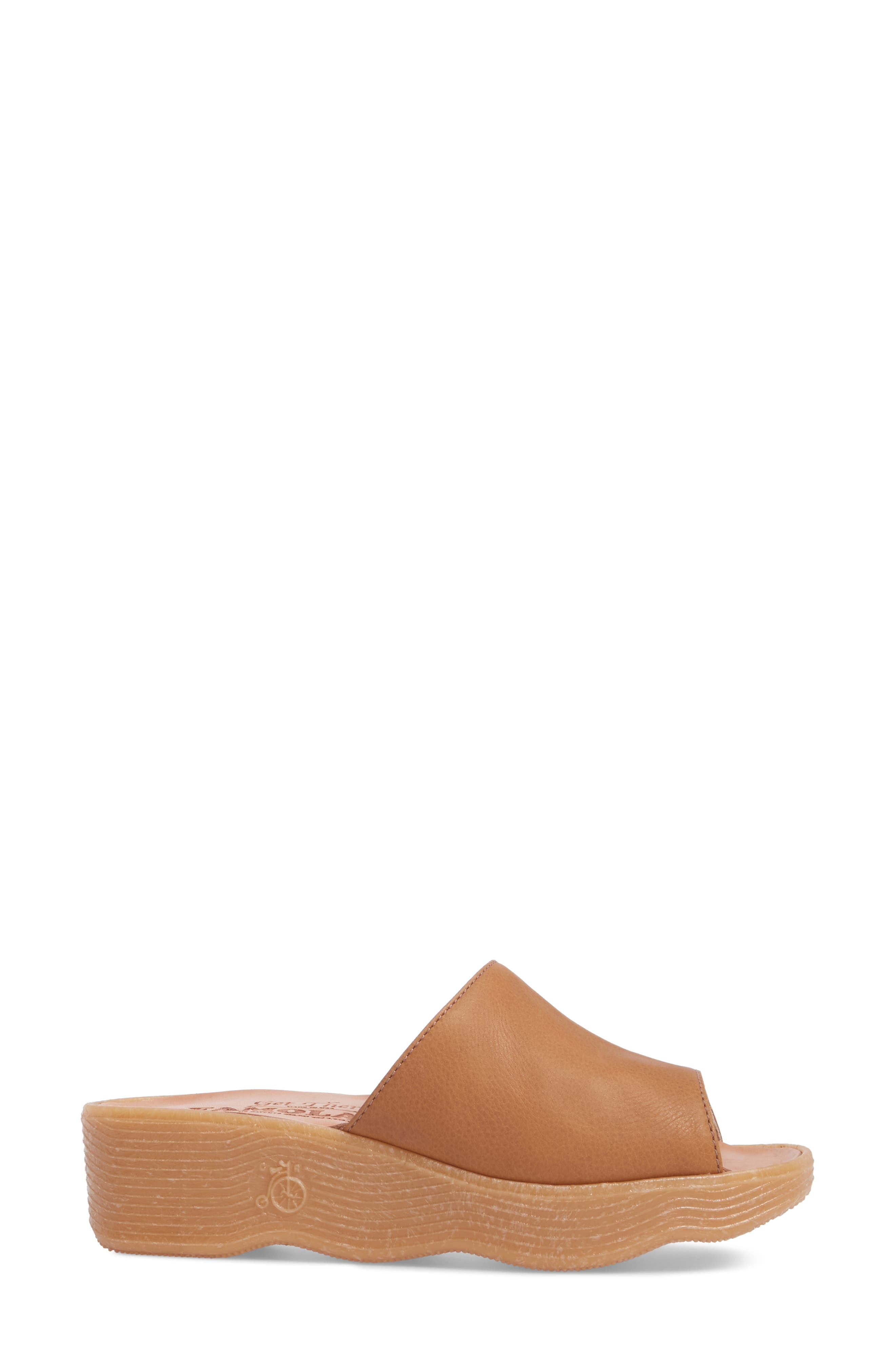 Slide N Sleek Wedge Slide Sandal,                             Alternate thumbnail 3, color,                             COGNAC LEATHER