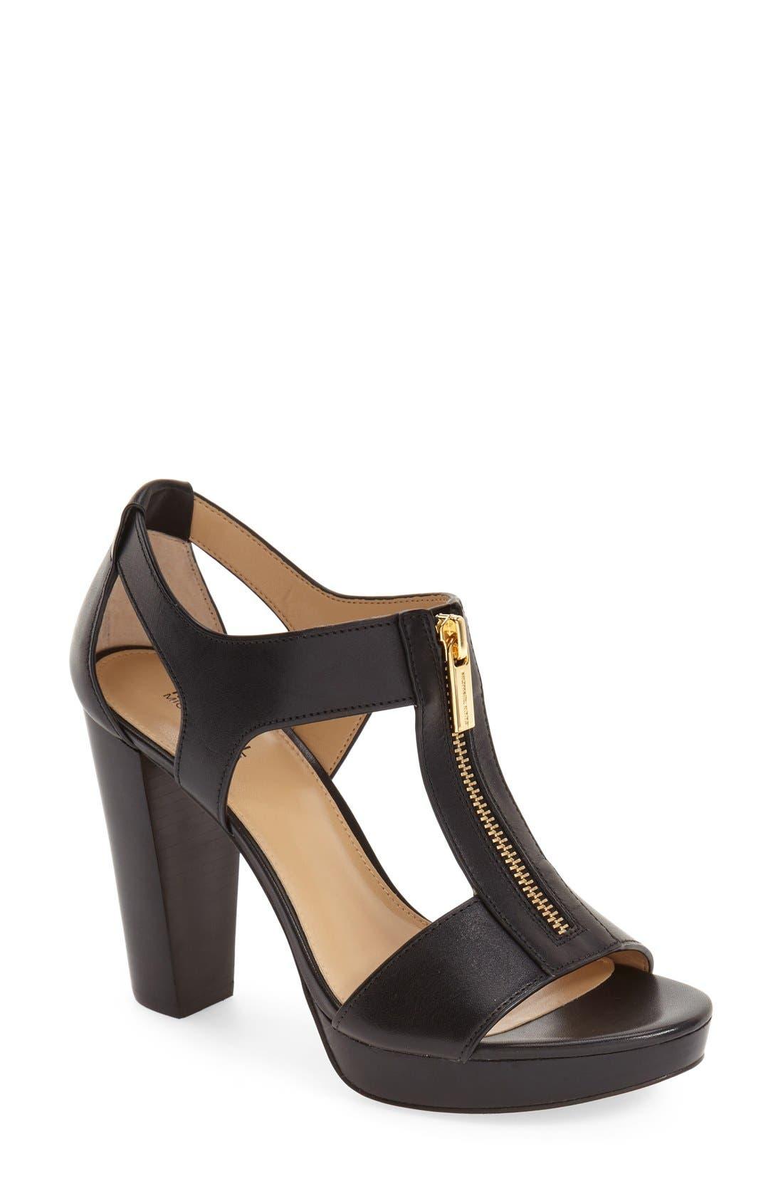 Berkley Zipper Platform High-Heel Sandals in Black