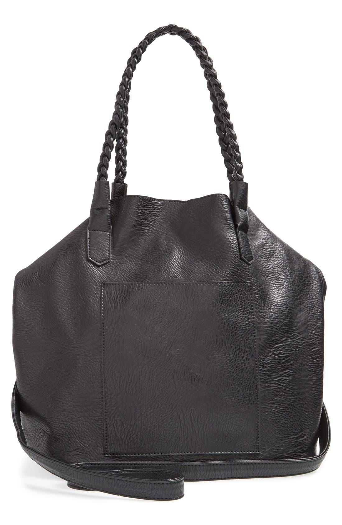 Slouchy Faux Leather Tote with Pouch,                             Alternate thumbnail 5, color,                             001