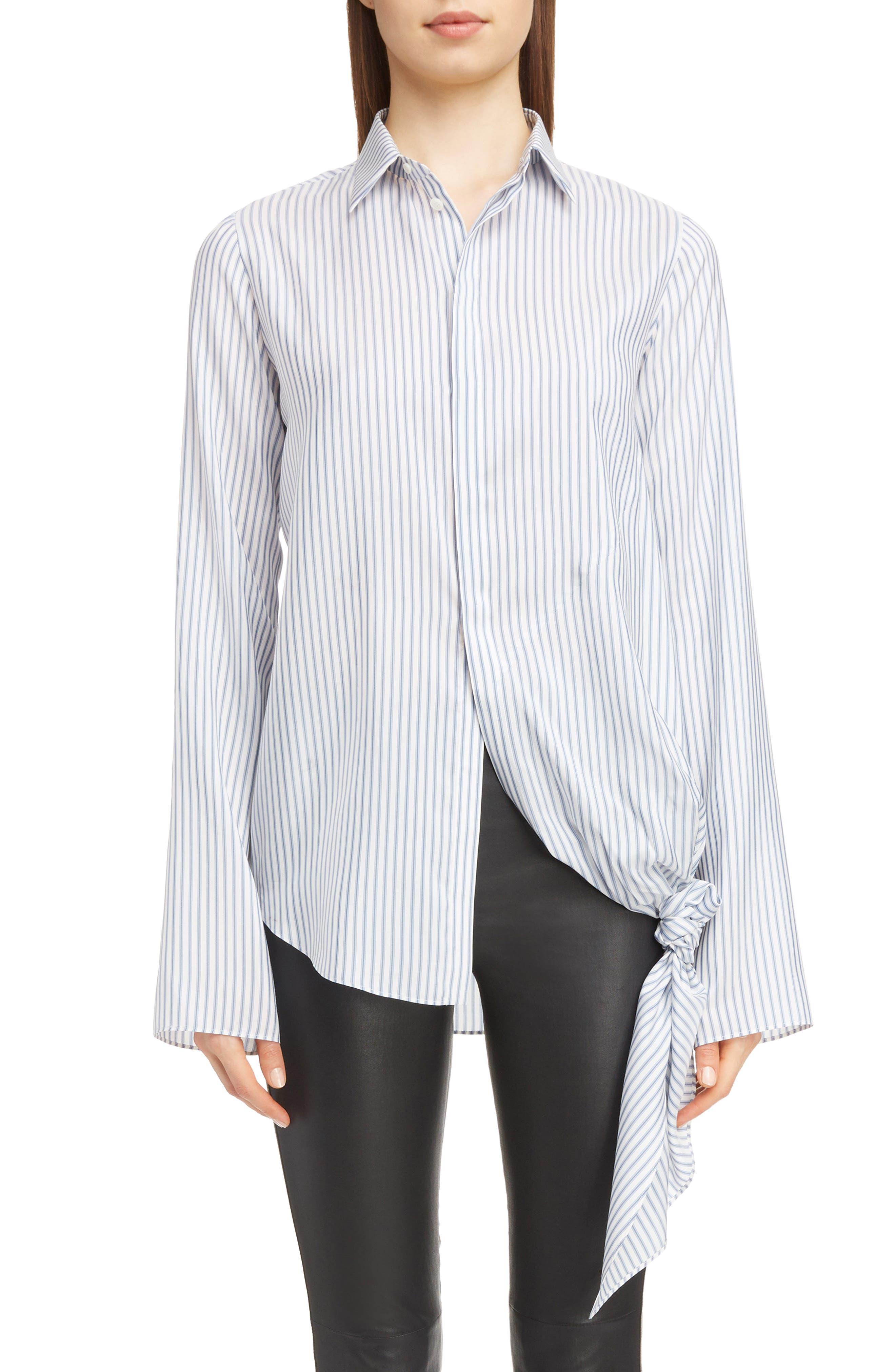Stripe Tie Hem Silk Shirt,                             Main thumbnail 1, color,                             BLUE/ WHITE