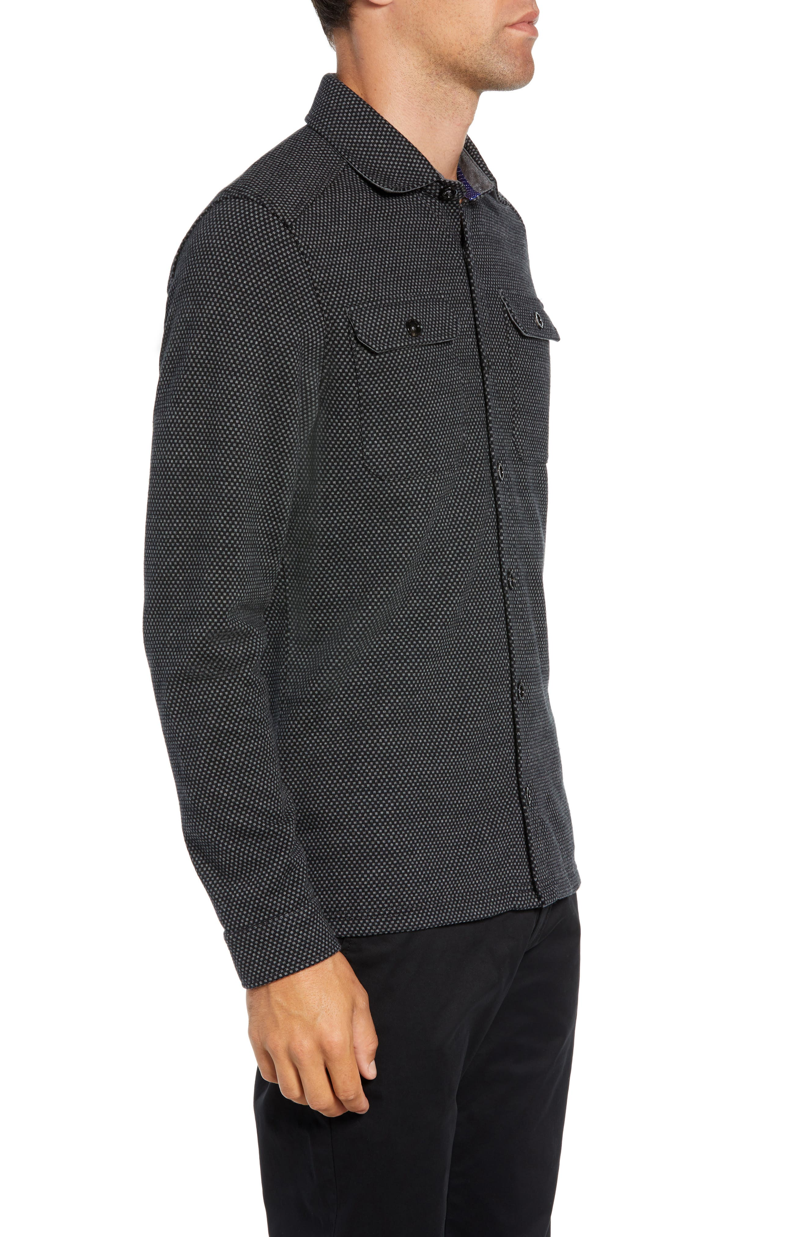 Toolow Trim Fit Solid Sport Shirt,                             Alternate thumbnail 4, color,                             CHARCOAL