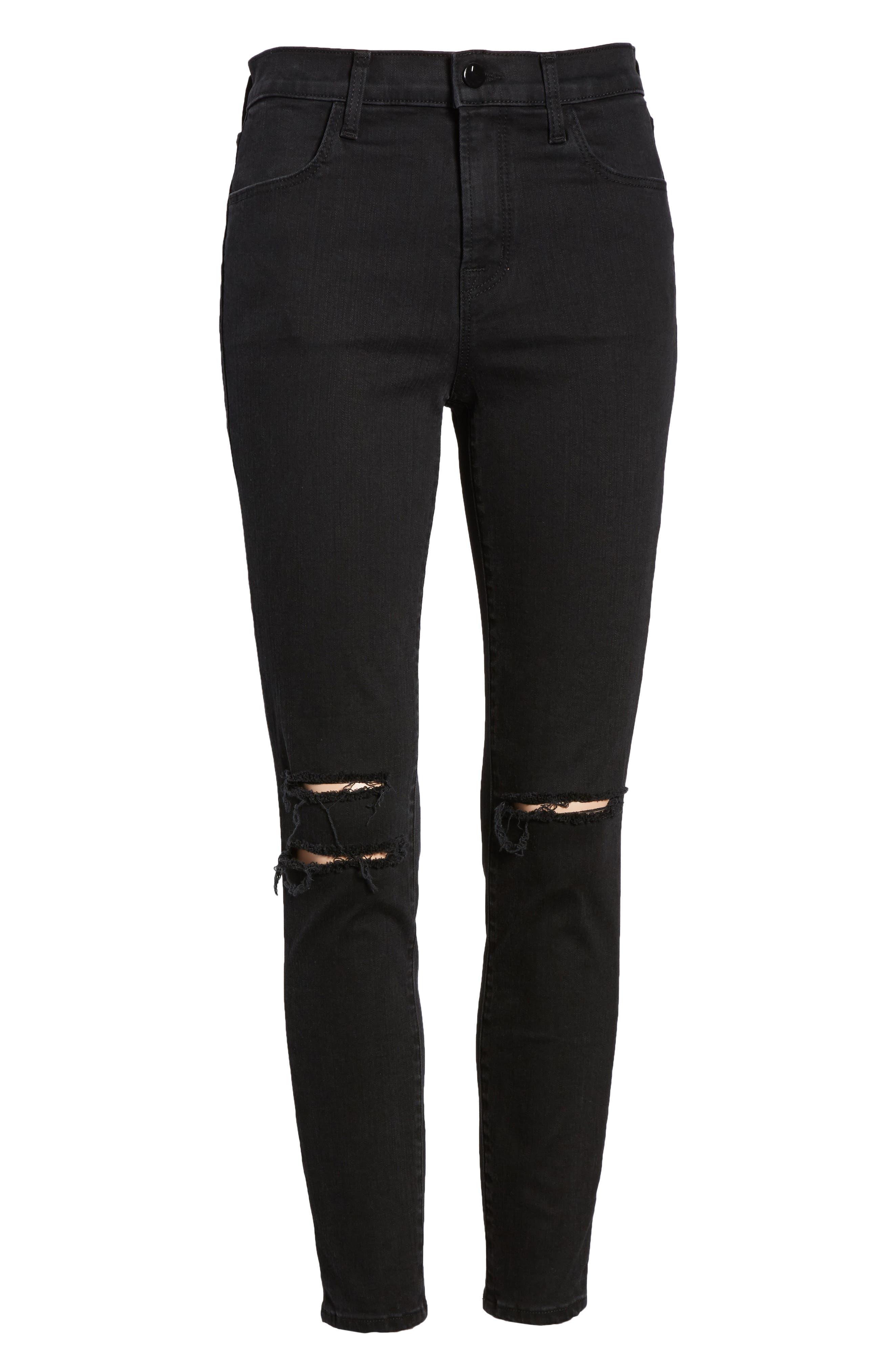 Alana High Waist Ankle Skinny Jeans,                             Alternate thumbnail 7, color,                             BLACK MERCY