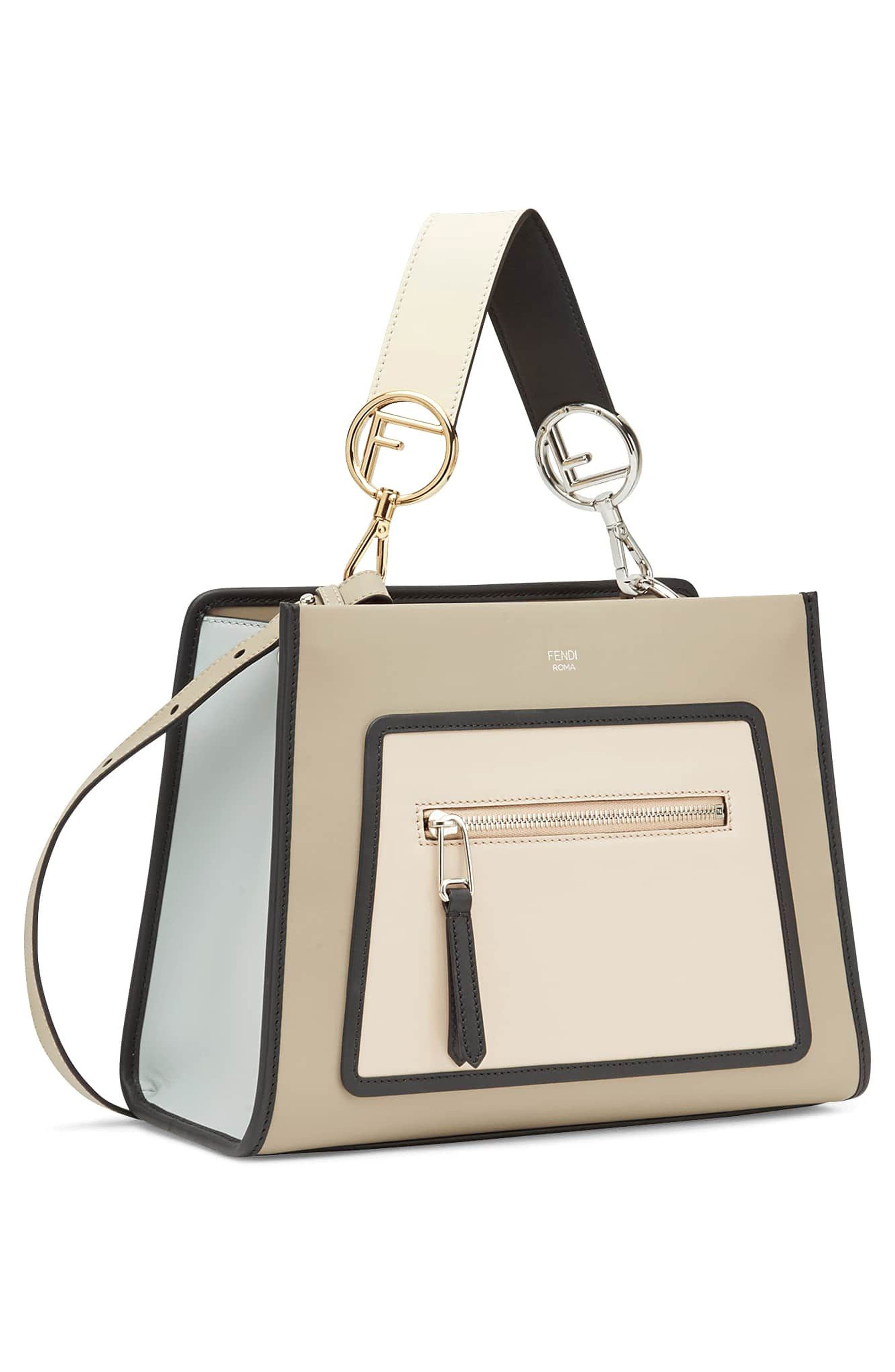 Small Runaway Small Colorblock Leather Tote,                             Alternate thumbnail 4, color,                             TAUPE/ SOAP MULTI