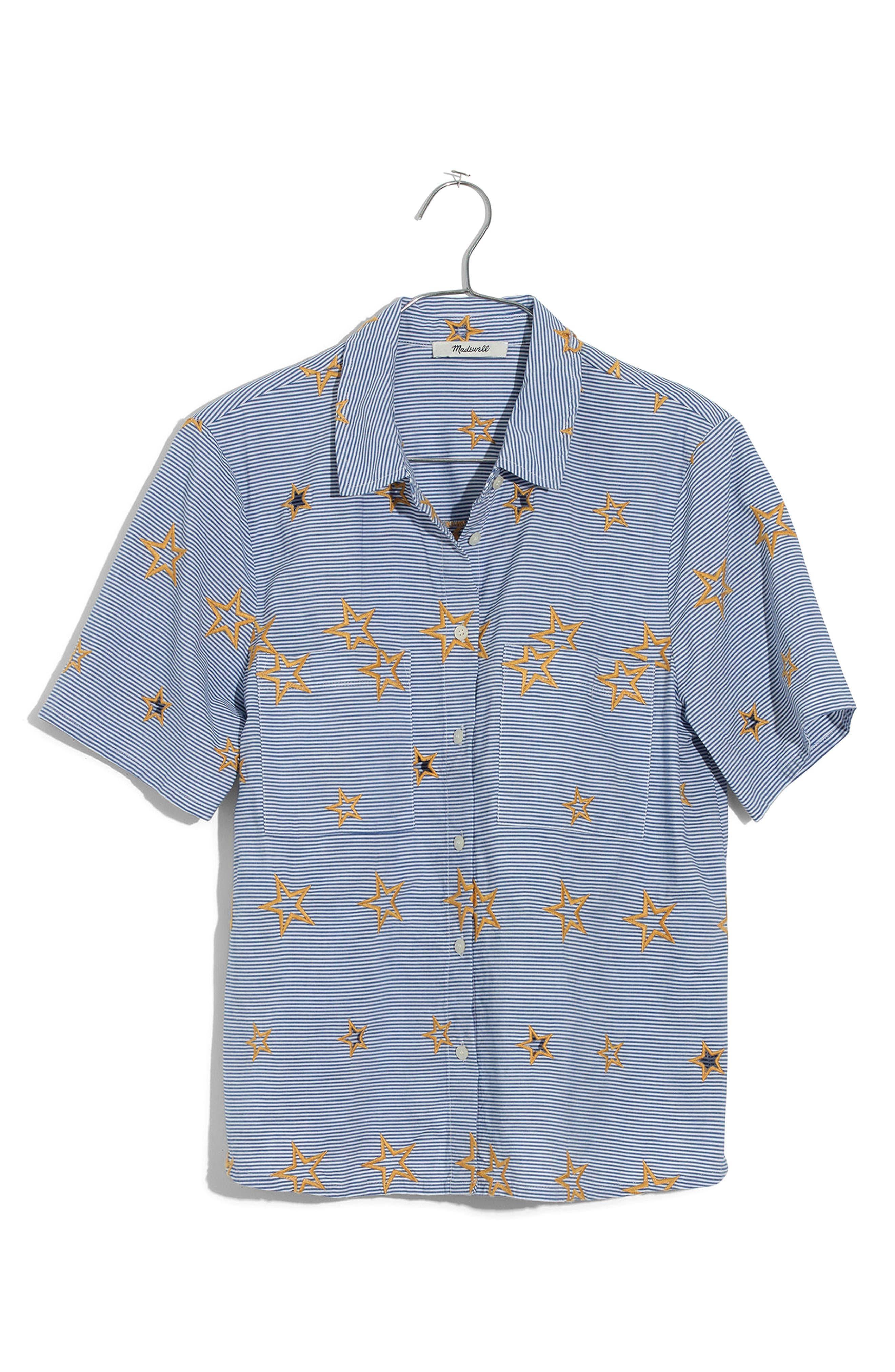 Star Embroidered Stripe Shirt,                             Alternate thumbnail 4, color,                             400