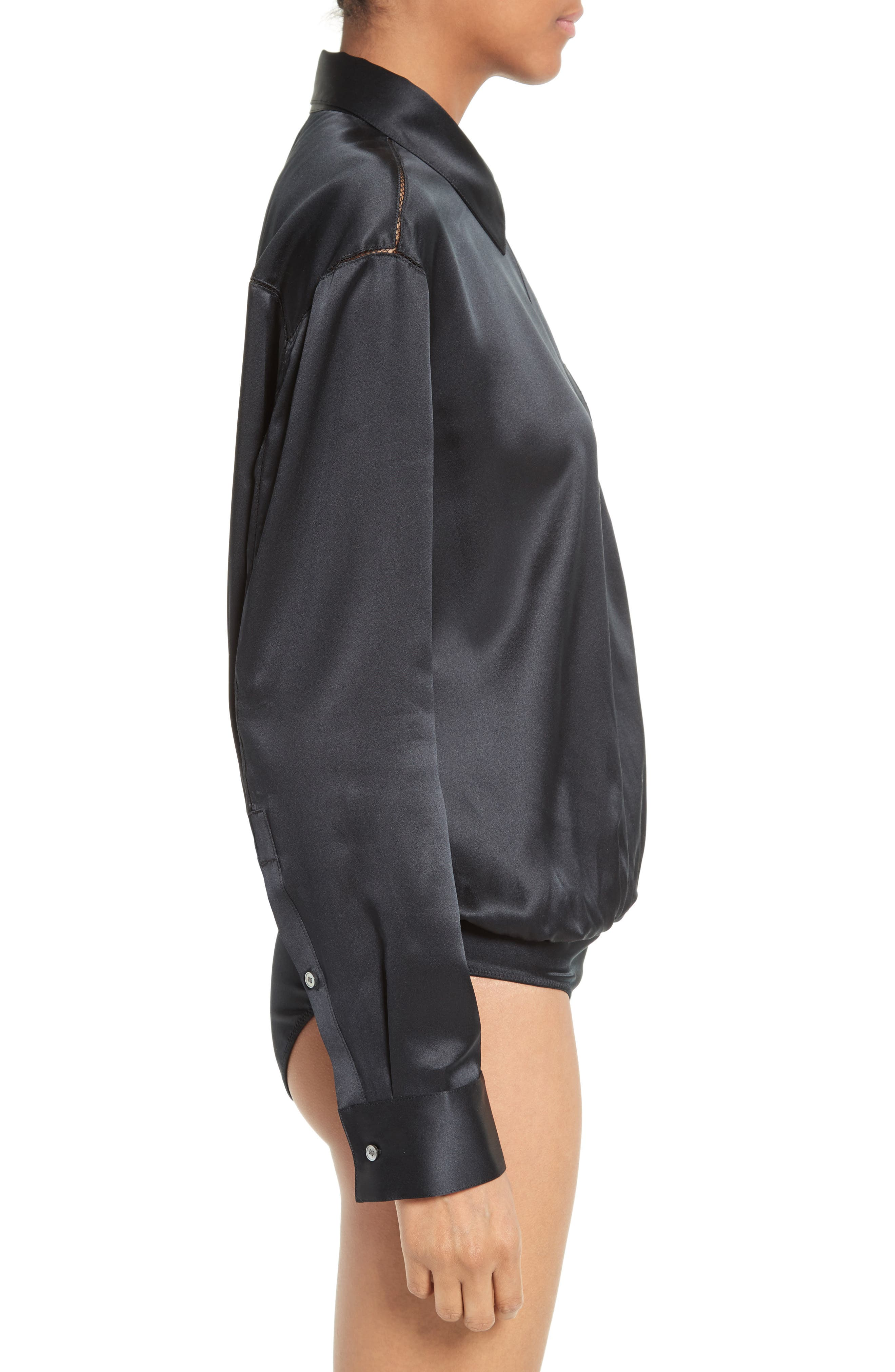 Silk Wrap Shirt Bodysuit,                             Alternate thumbnail 4, color,                             001