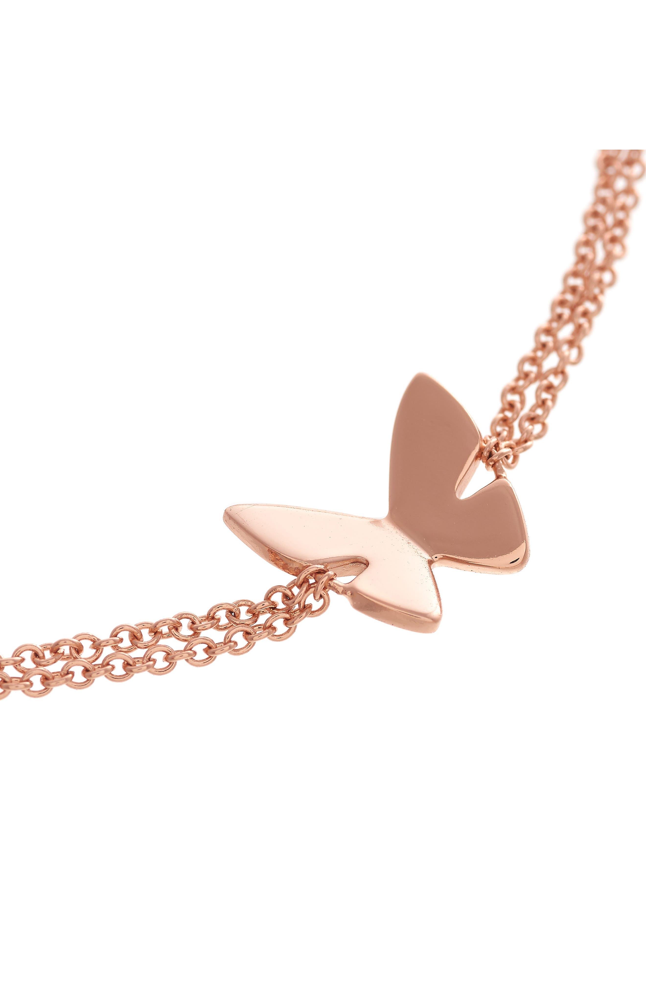 Social Butterfly Chain Bracelet,                             Alternate thumbnail 2, color,                             ROSE GOLD