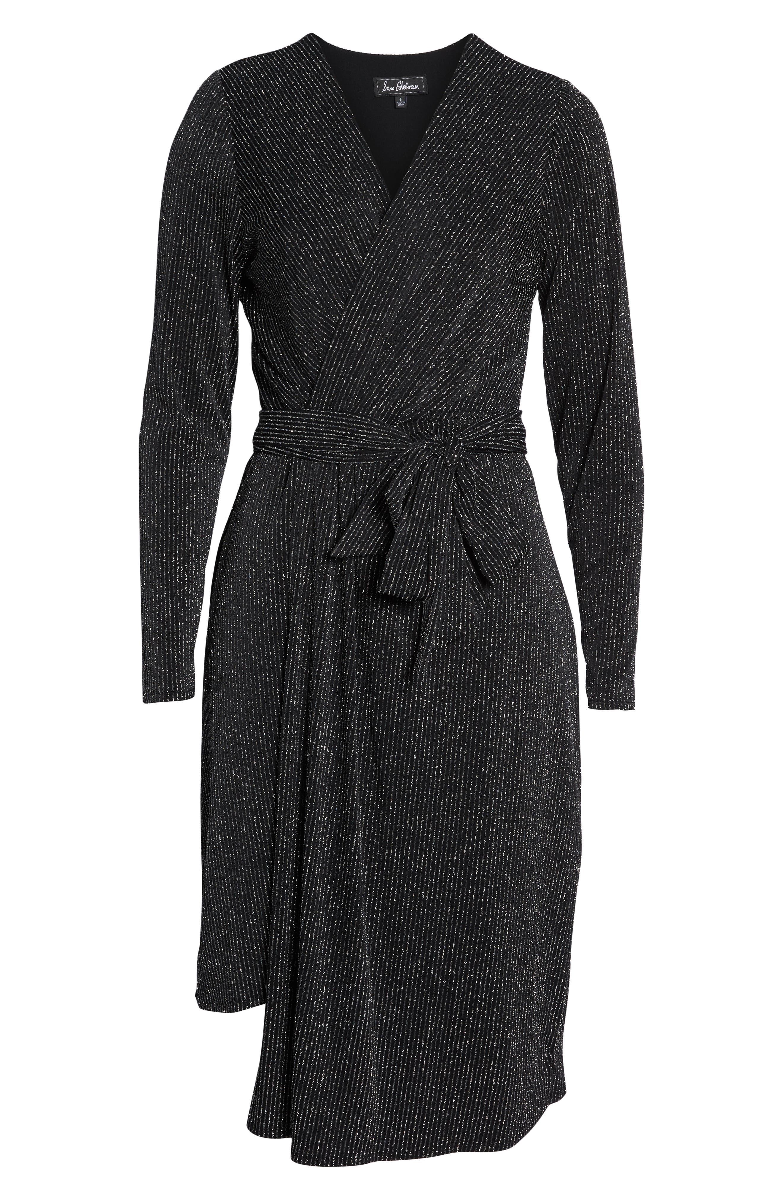 SAM EDELMAN,                             Metallic Faux Wrap Knit Dress,                             Alternate thumbnail 7, color,                             SILVER METALLIC